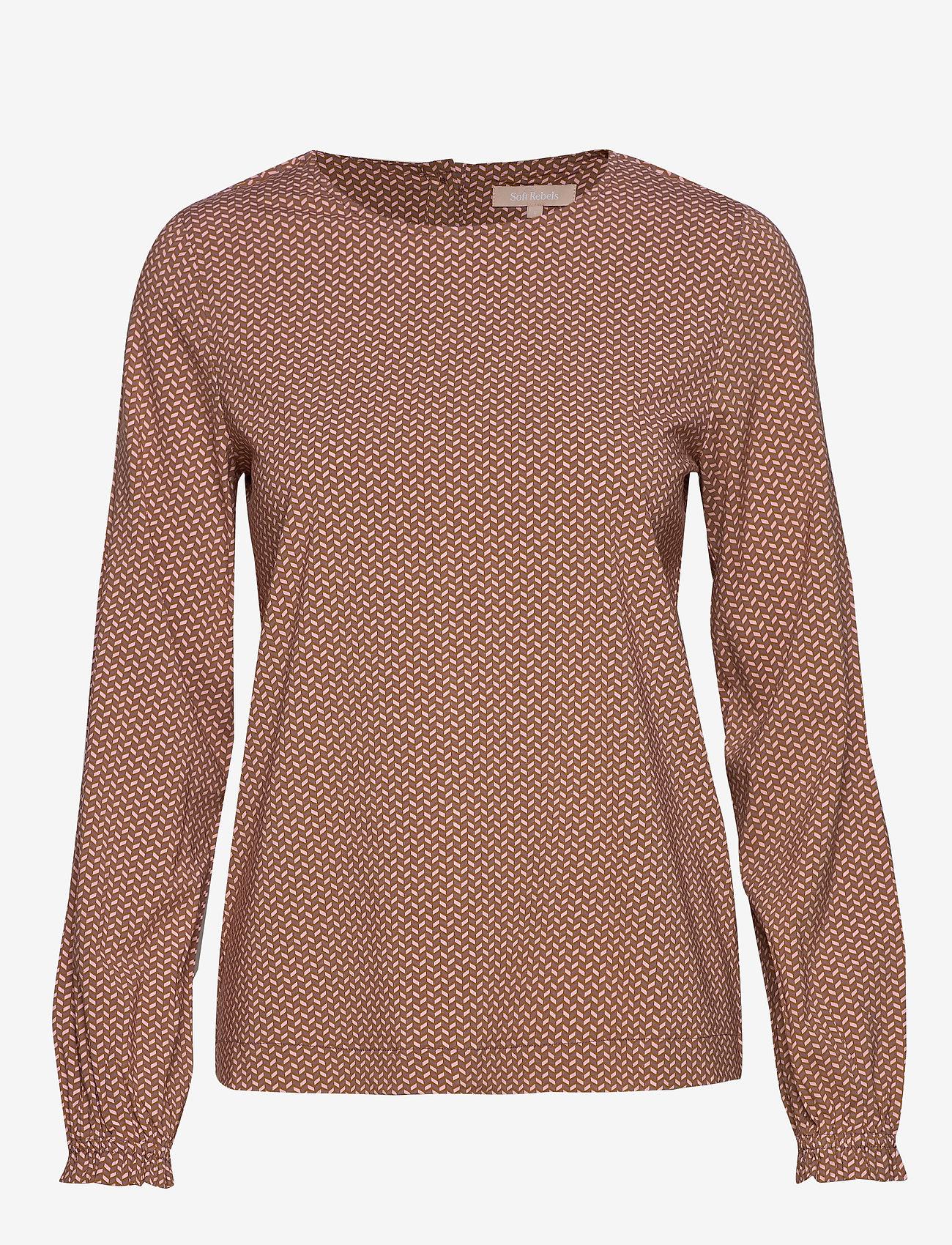 Soft Rebels - Hailey LS Top Printed - long sleeved blouses - hailey print - 0