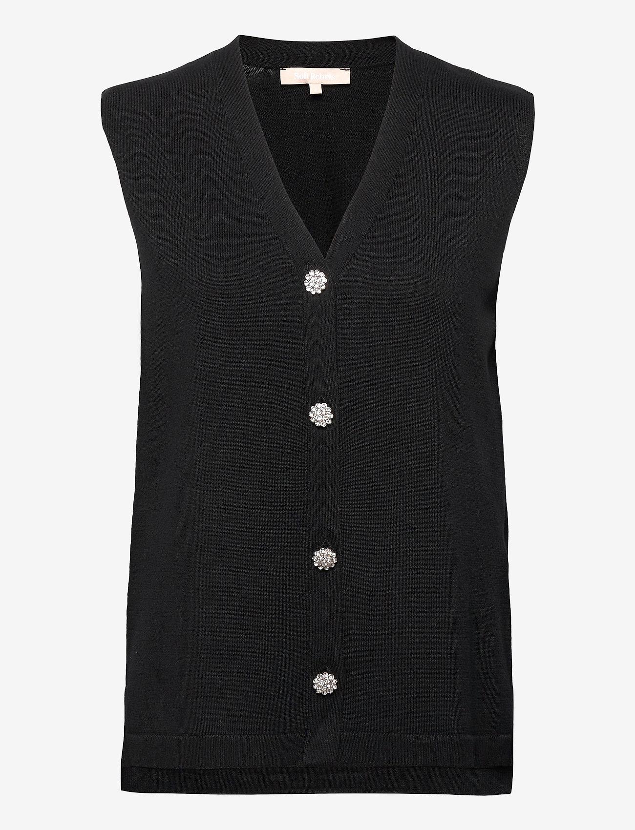 Soft Rebels - SRLisa V-neck Vest Cardigan Knit - knitted vests - black - 0