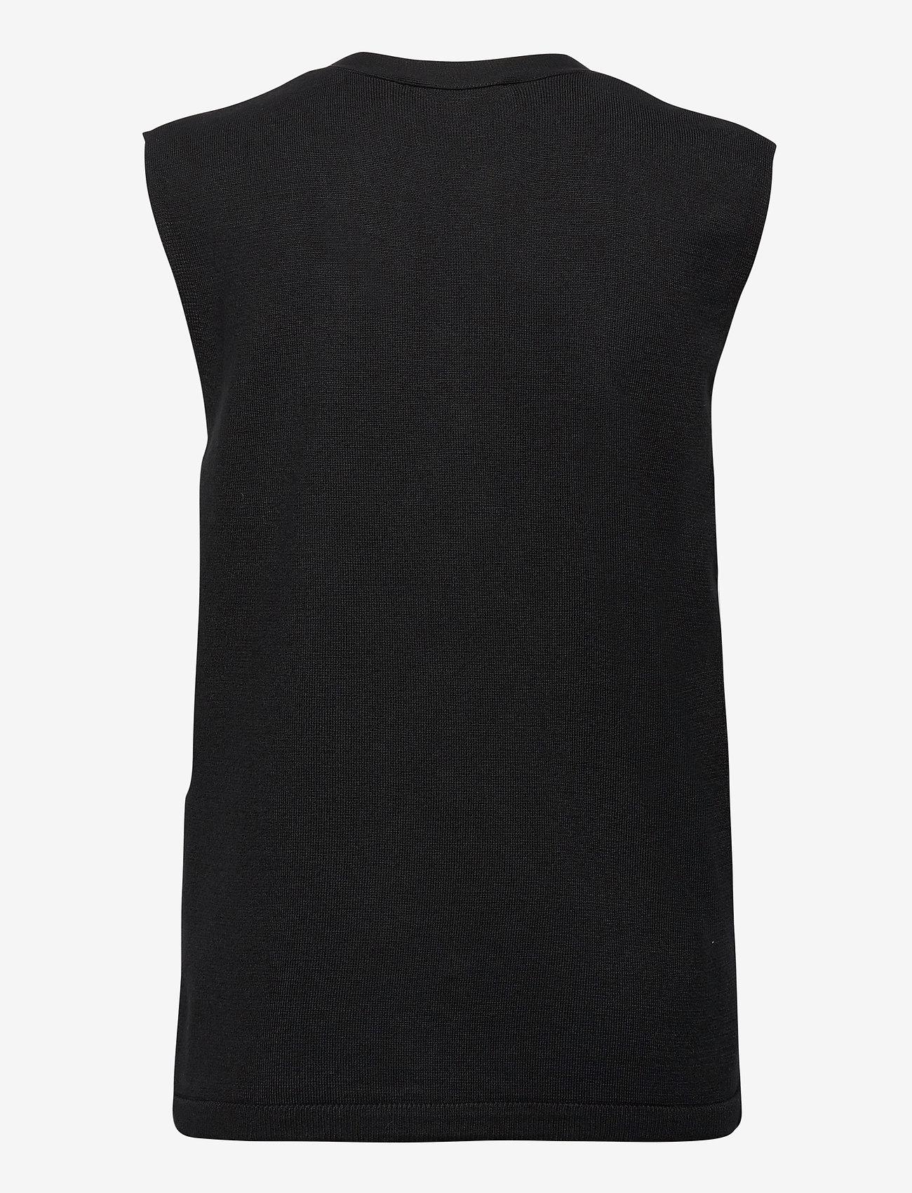 Soft Rebels - SRLisa V-neck Vest Cardigan Knit - knitted vests - black - 1