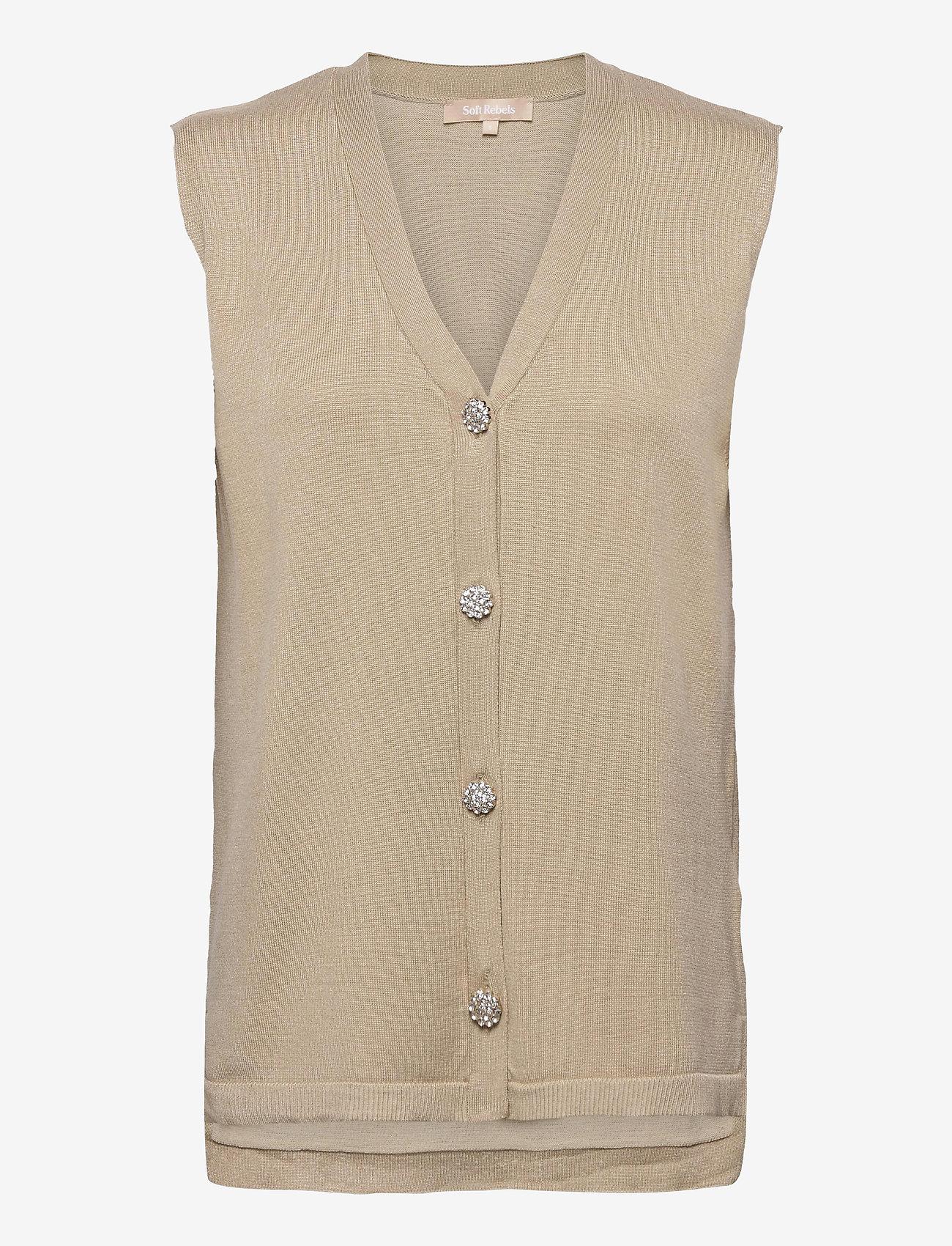 Soft Rebels - SRLisa V-neck Vest Cardigan Knit - knitted vests - white pepper - 0