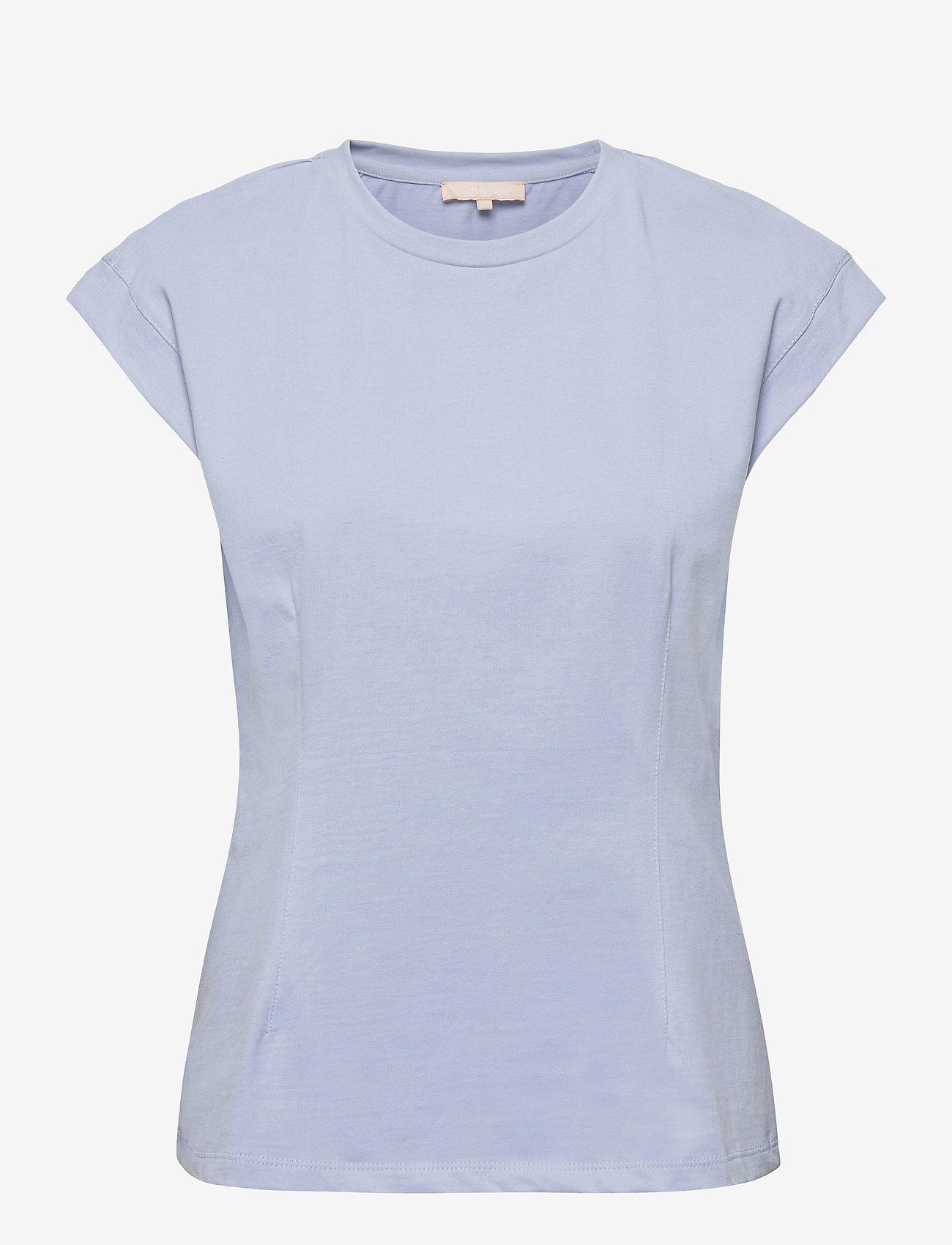 Soft Rebels - SRWinona SS Top - t-shirt & tops - zen blue - 0