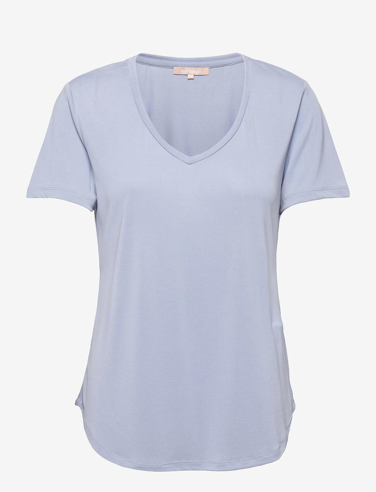 Soft Rebels - SRElla V-neck T-shirt - t-shirts - zen blue - 0