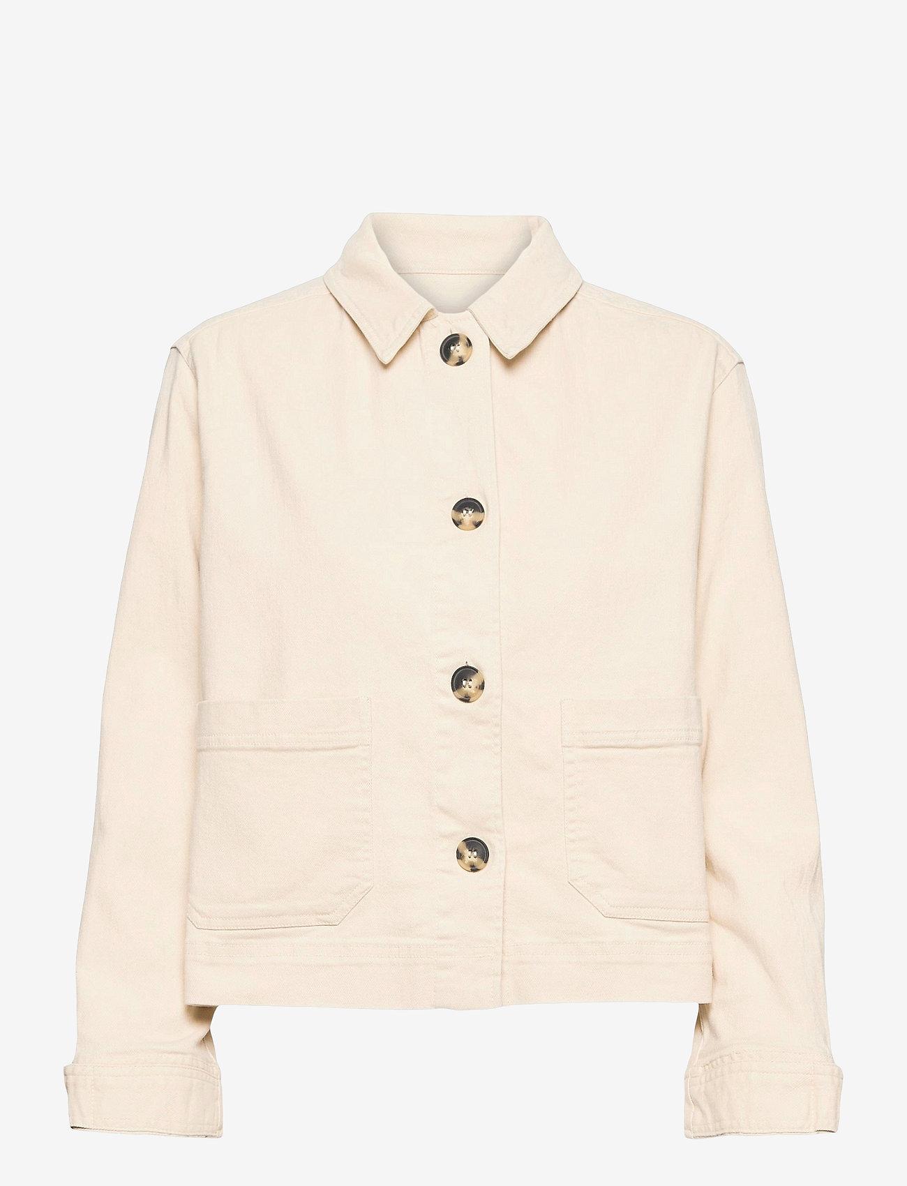 Soft Rebels - SRLauren LS Short Loose Jacket - denim jackets - snow white / off white - 0