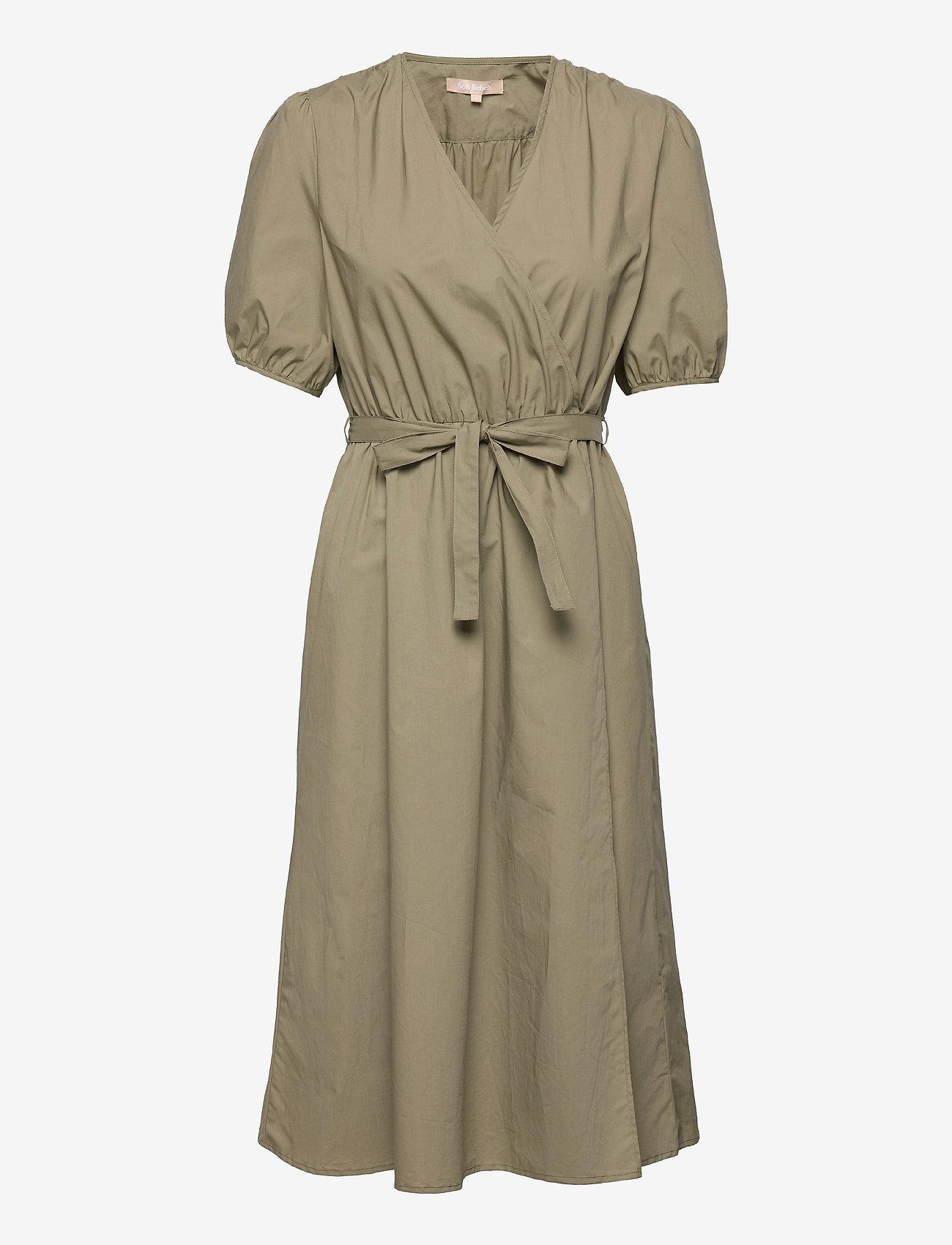 Soft Rebels - SRFika Wrap Dress - summer dresses - covert green - 0