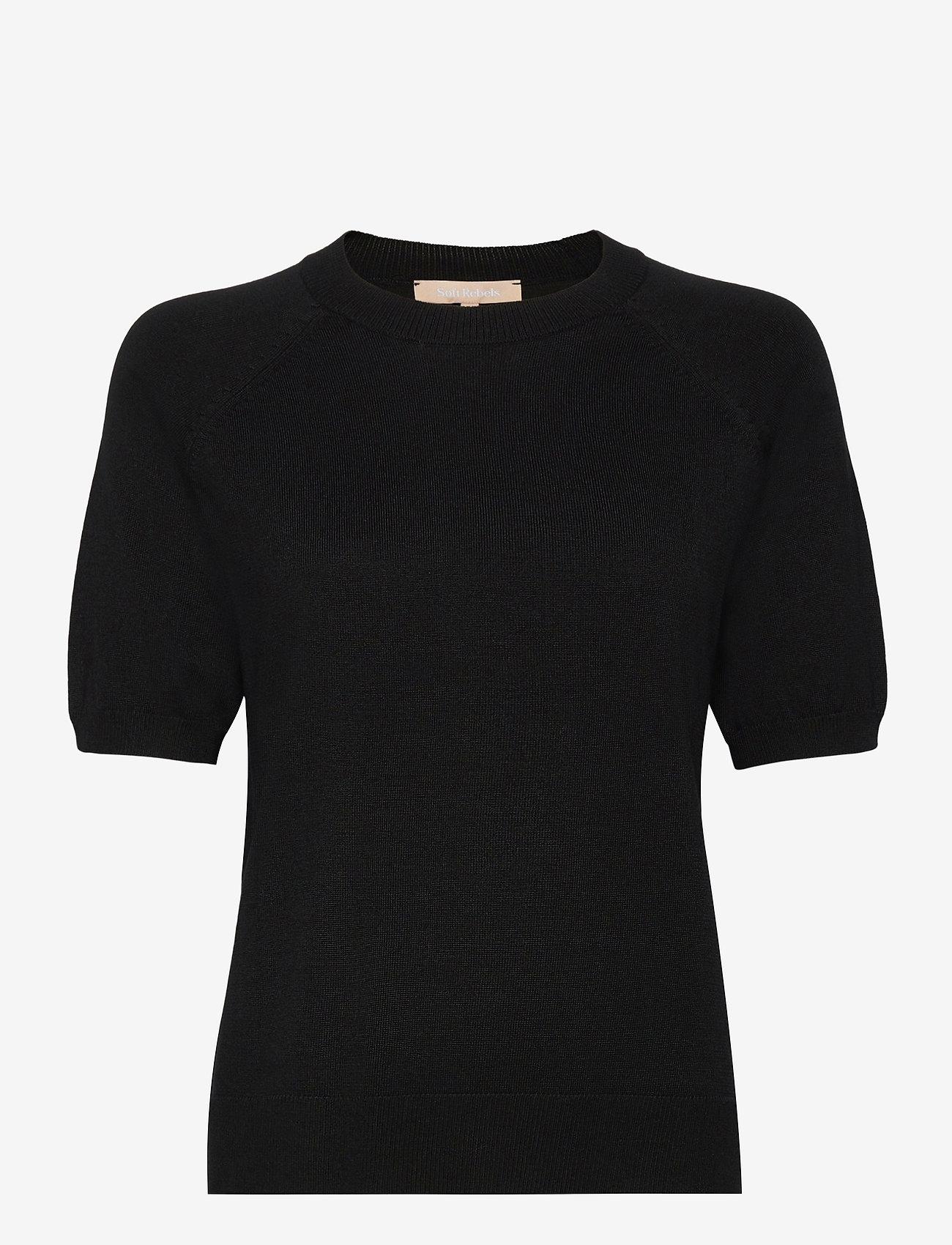 Soft Rebels - SRMarla SS O-neck - gebreide t-shirts - black - 0