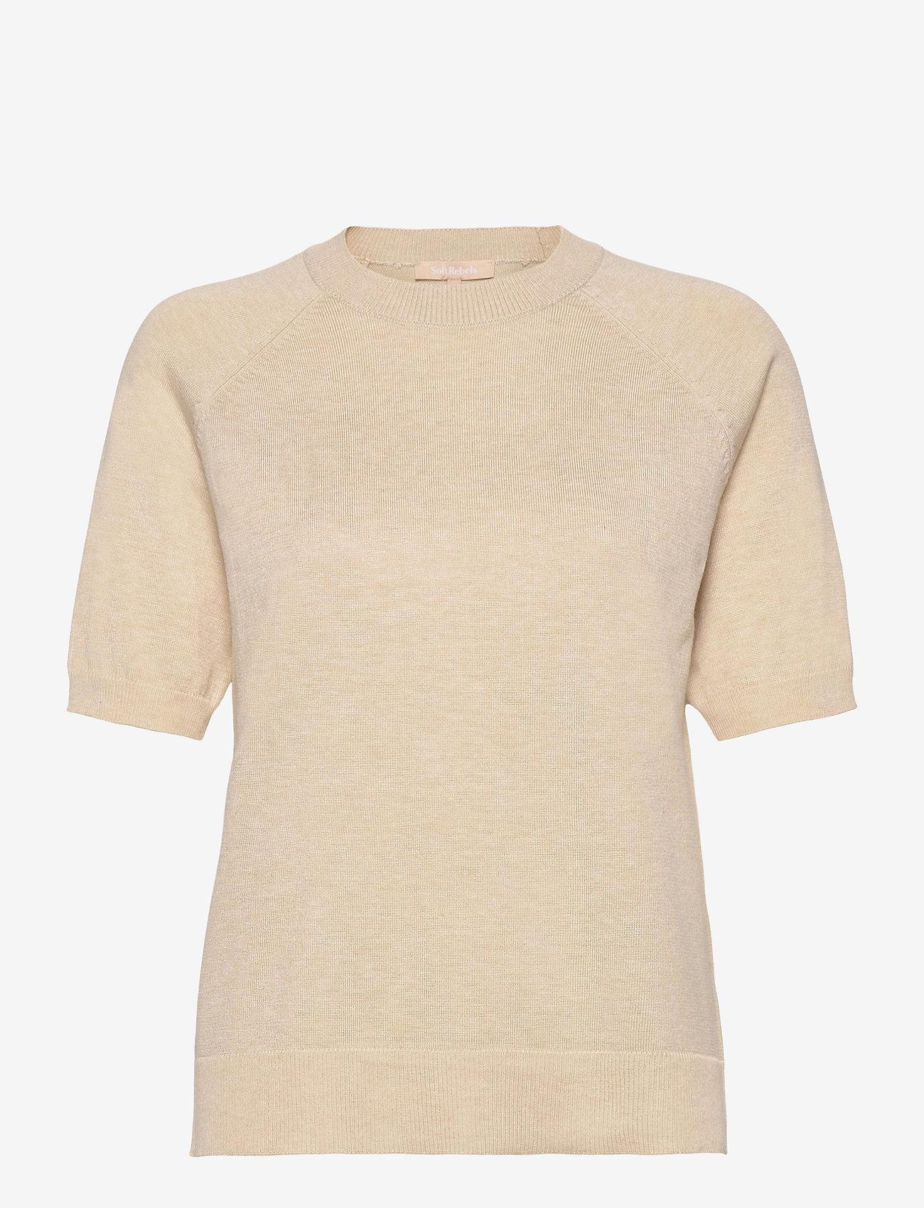 Soft Rebels - SRMarla SS O-Neck Knit - t-shirt & tops - whitecap gray - 0