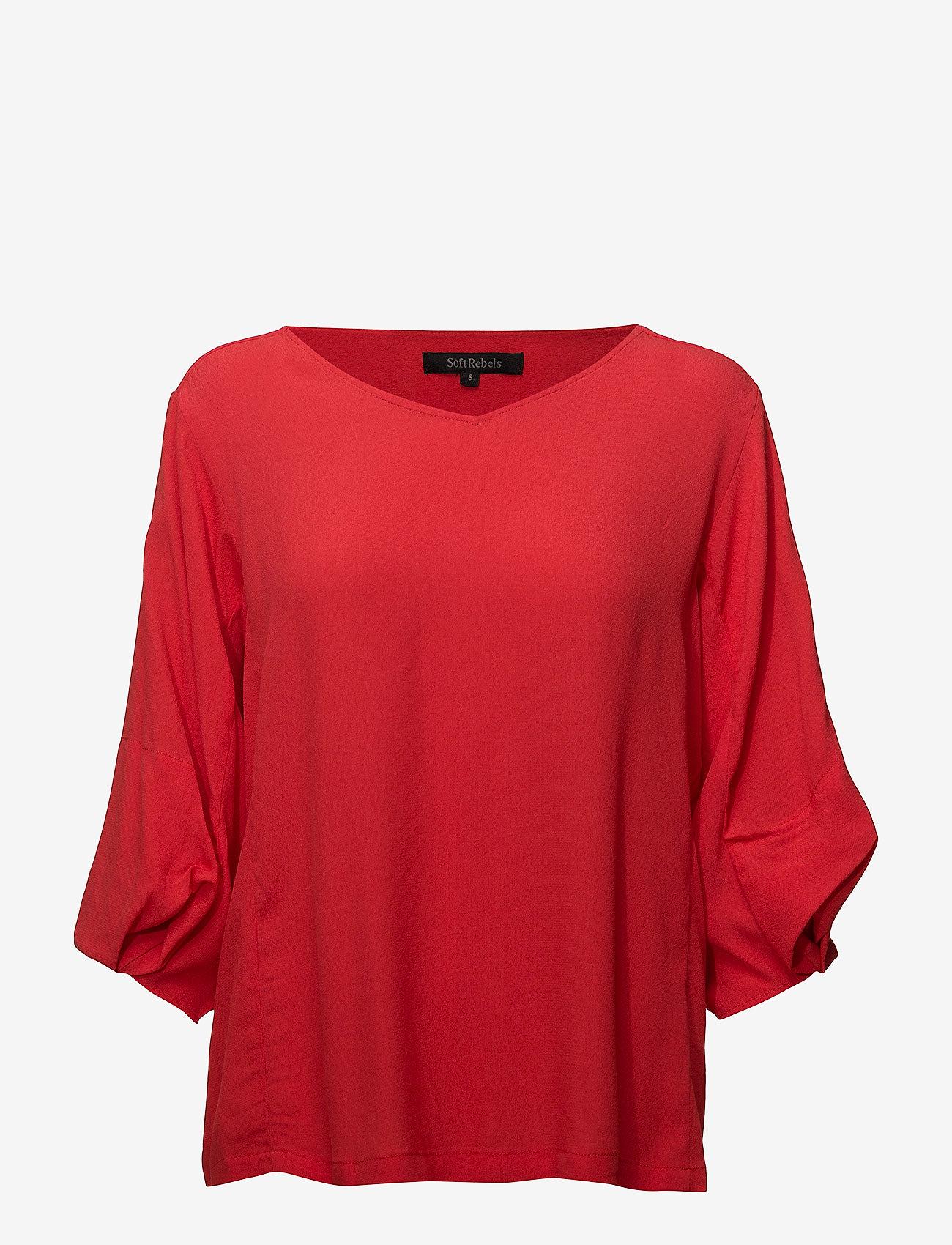 Soft Rebels - Keep Balloon Sleeve Blouse - long sleeved blouses - crimson - 0