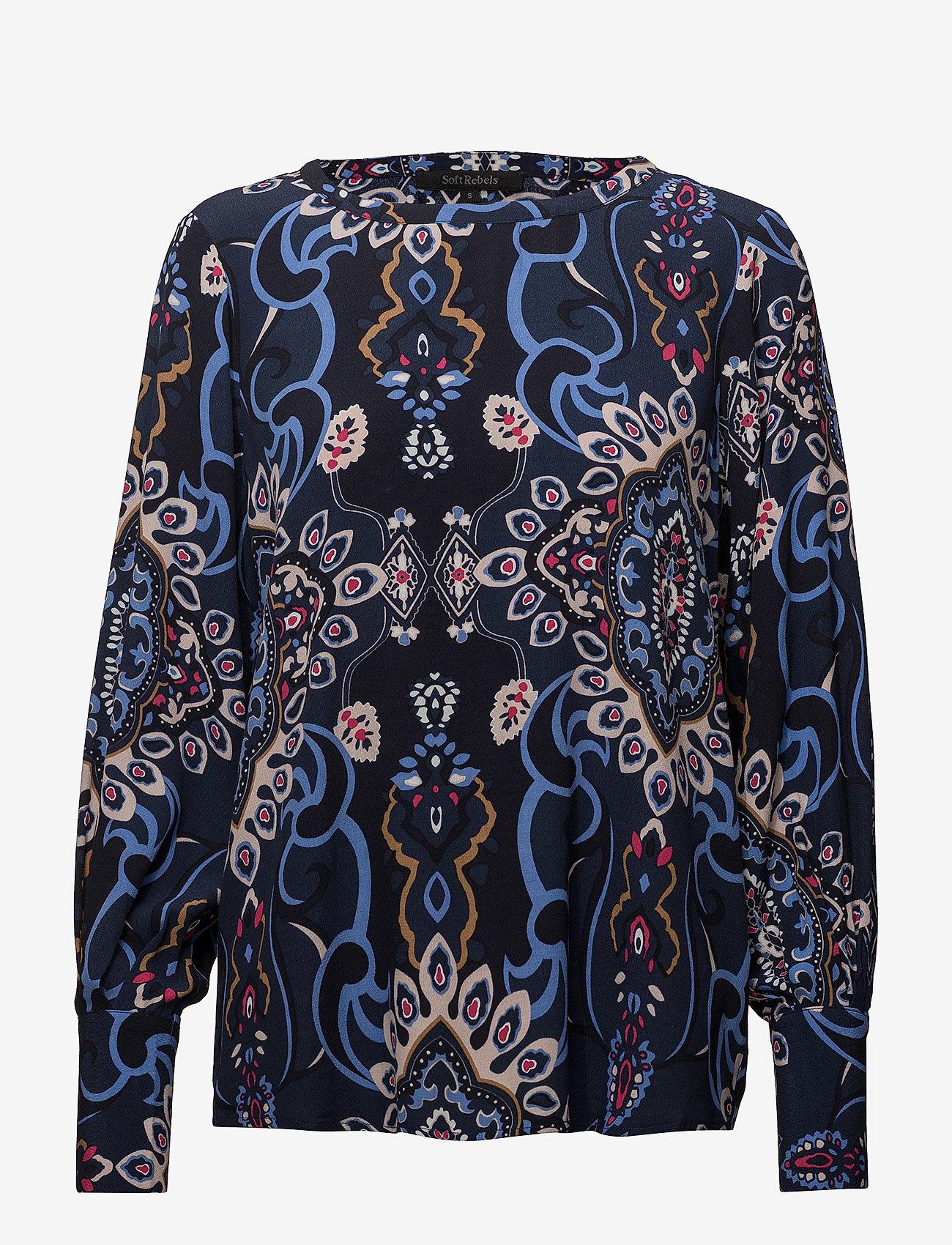 Soft Rebels - Lucia Blouse - blouses med lange mouwen - night sky - 0