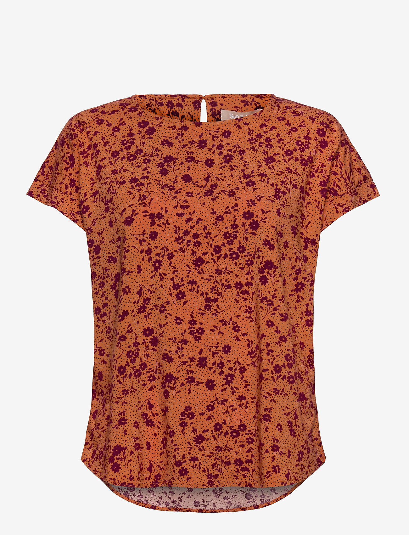 Soft Rebels - Nina SS Top - blouses med korte mouwen - nina print tomato cream - 0