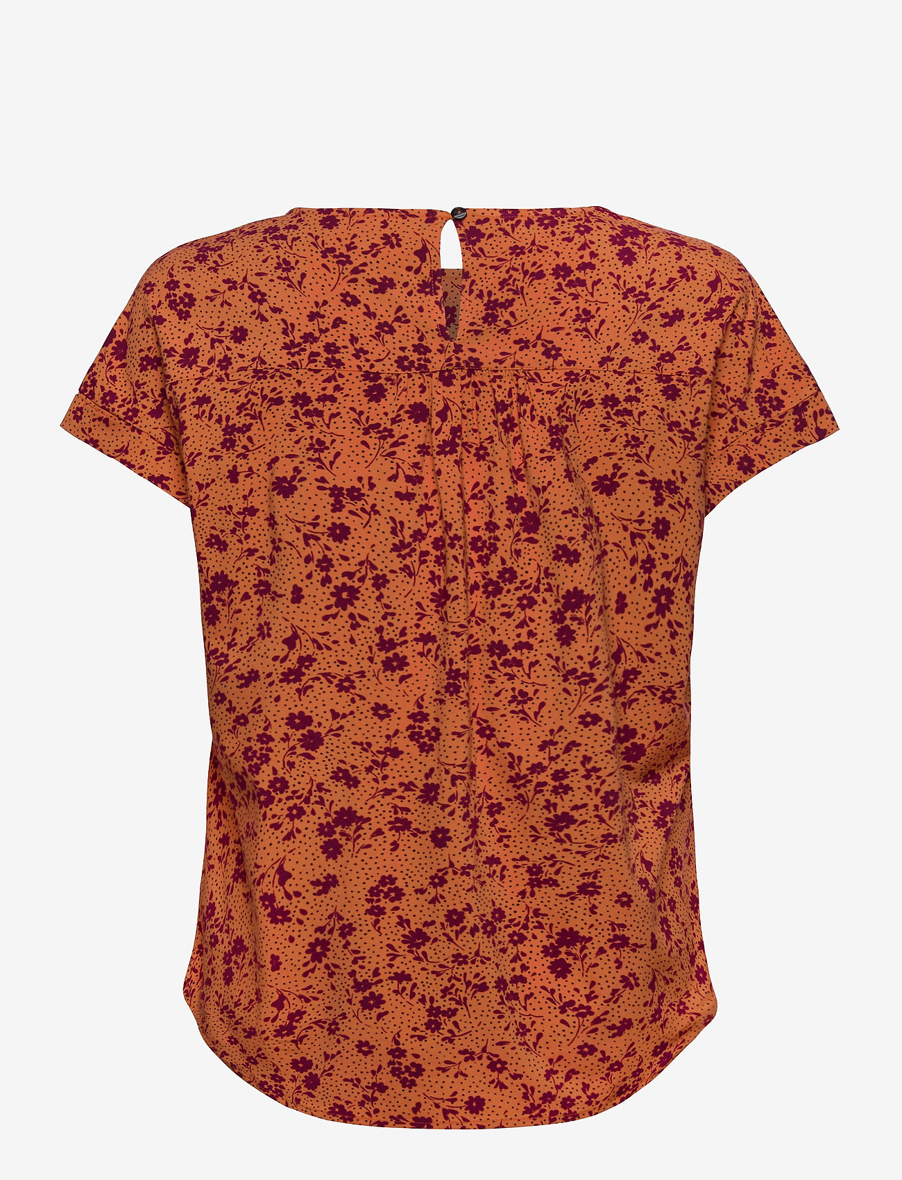 Soft Rebels - Nina SS Top - blouses med korte mouwen - nina print tomato cream - 1