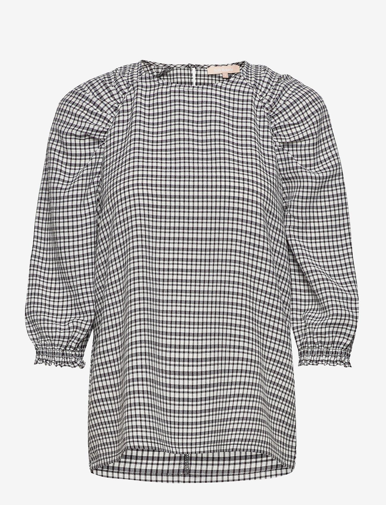 Soft Rebels - Mate 3/4 Top - long sleeved blouses - black - 1