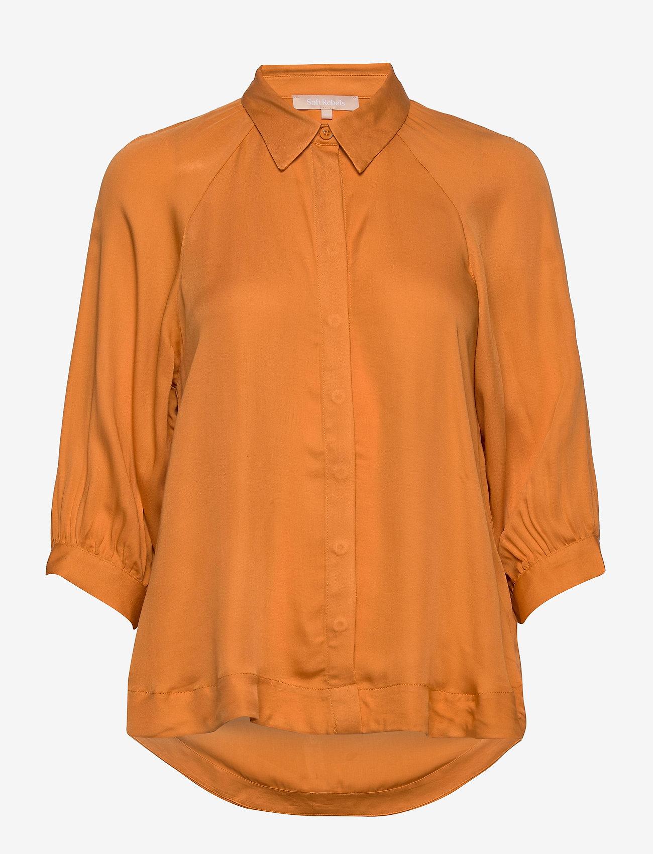 Soft Rebels - Rosanna 3/4 Shirt - long sleeved blouses - tomato cream - 0