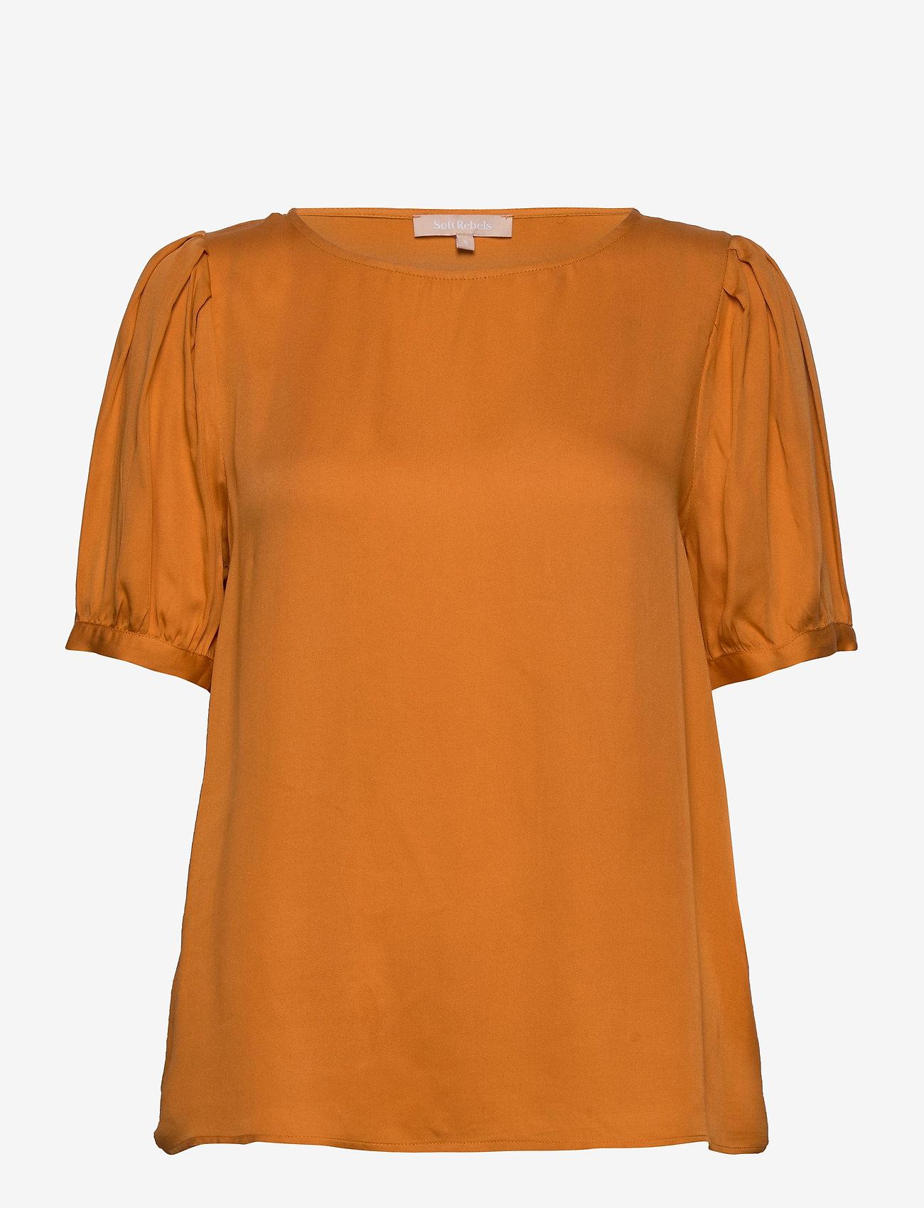 Soft Rebels - Rosanna 2/4 Top - blouses med korte mouwen - tomato cream - 0