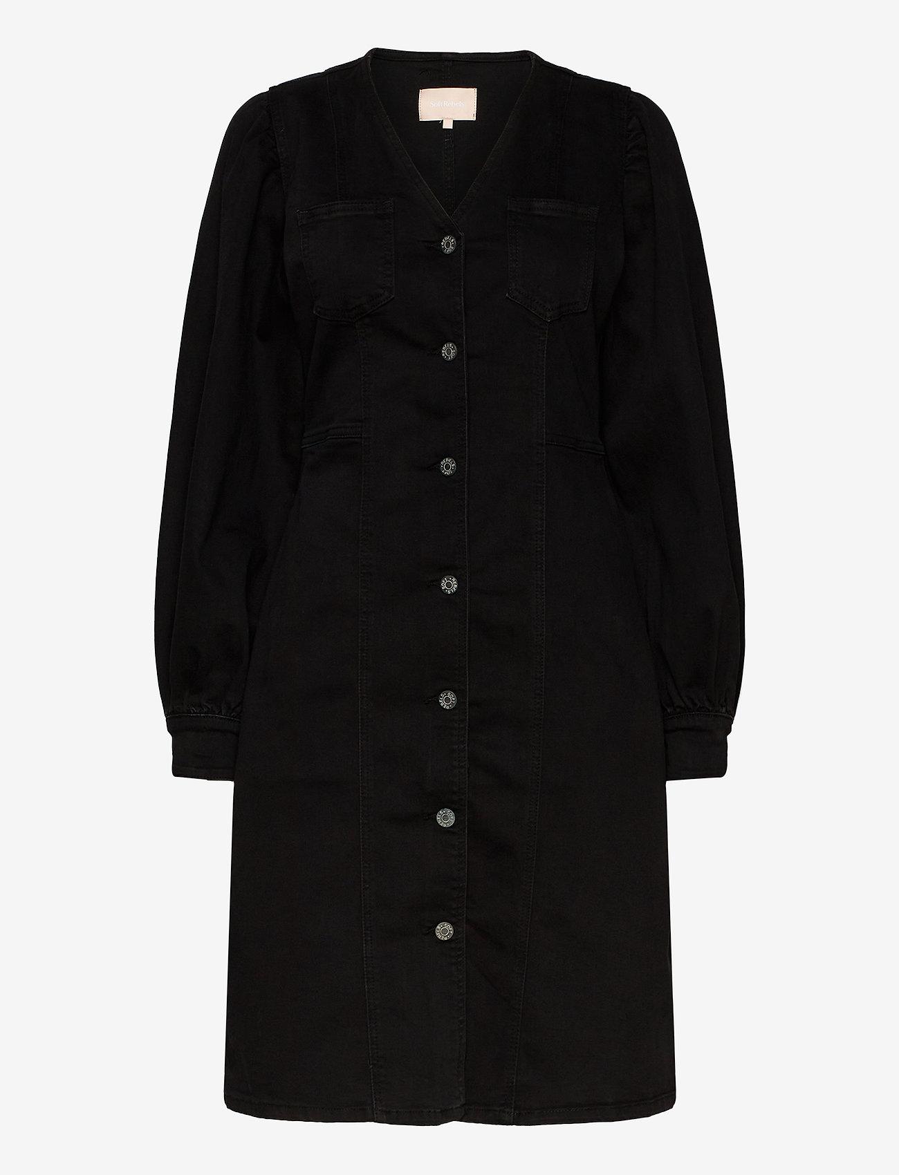 Soft Rebels - Janice LS Dress - midi dresses - charcoal black - 0