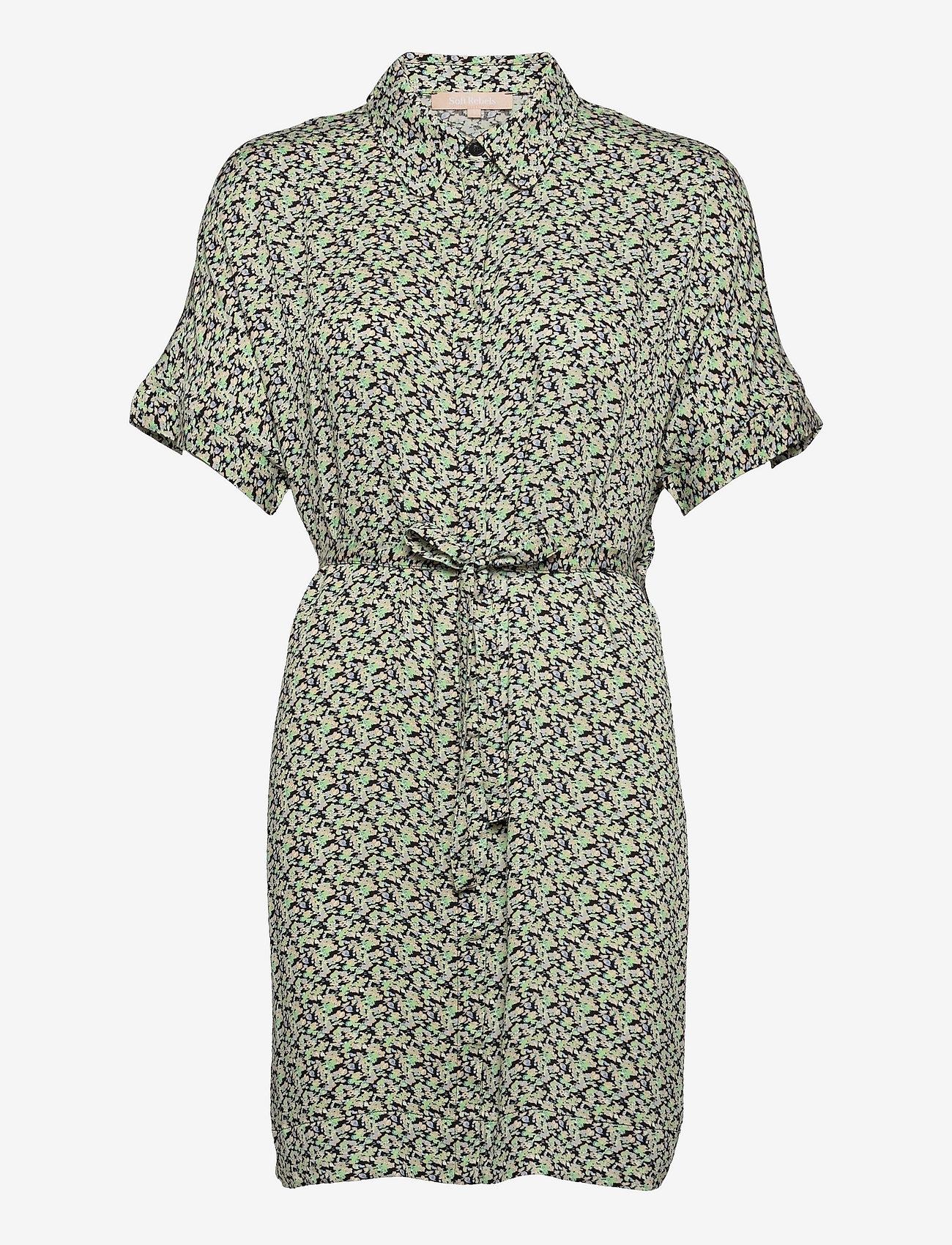 Soft Rebels - SRLeah Shirt Dress - summer dresses - blur flower arcadian green - 1