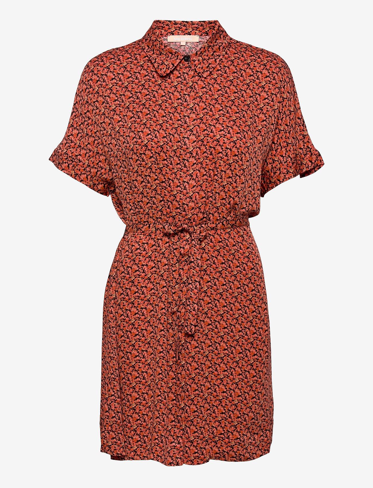 Soft Rebels - SRLeah Shirt Dress - summer dresses - blur flower rooibos - 0