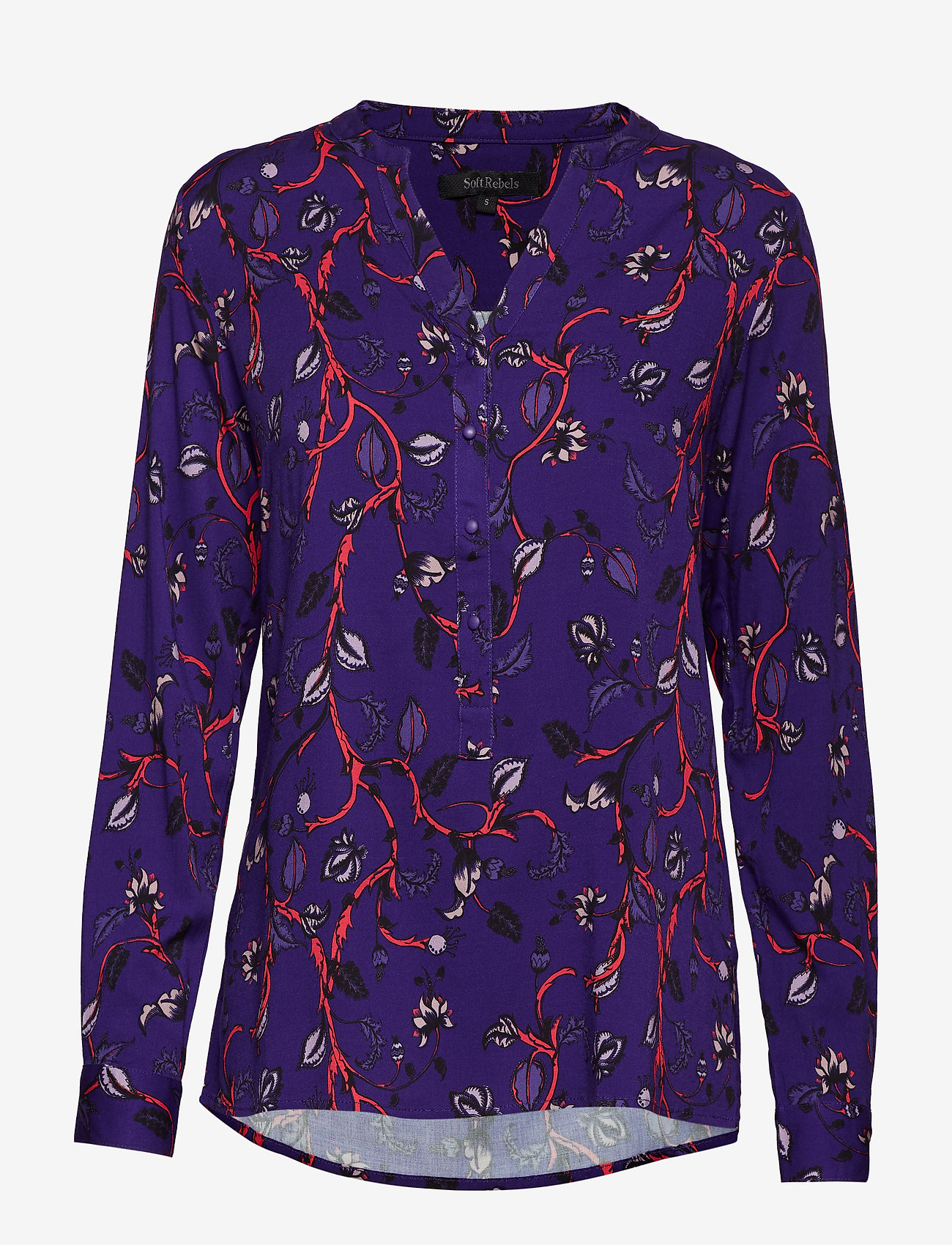 Soft Rebels - Smila Button Shirt - long sleeved blouses - 794 smila purple print - 0