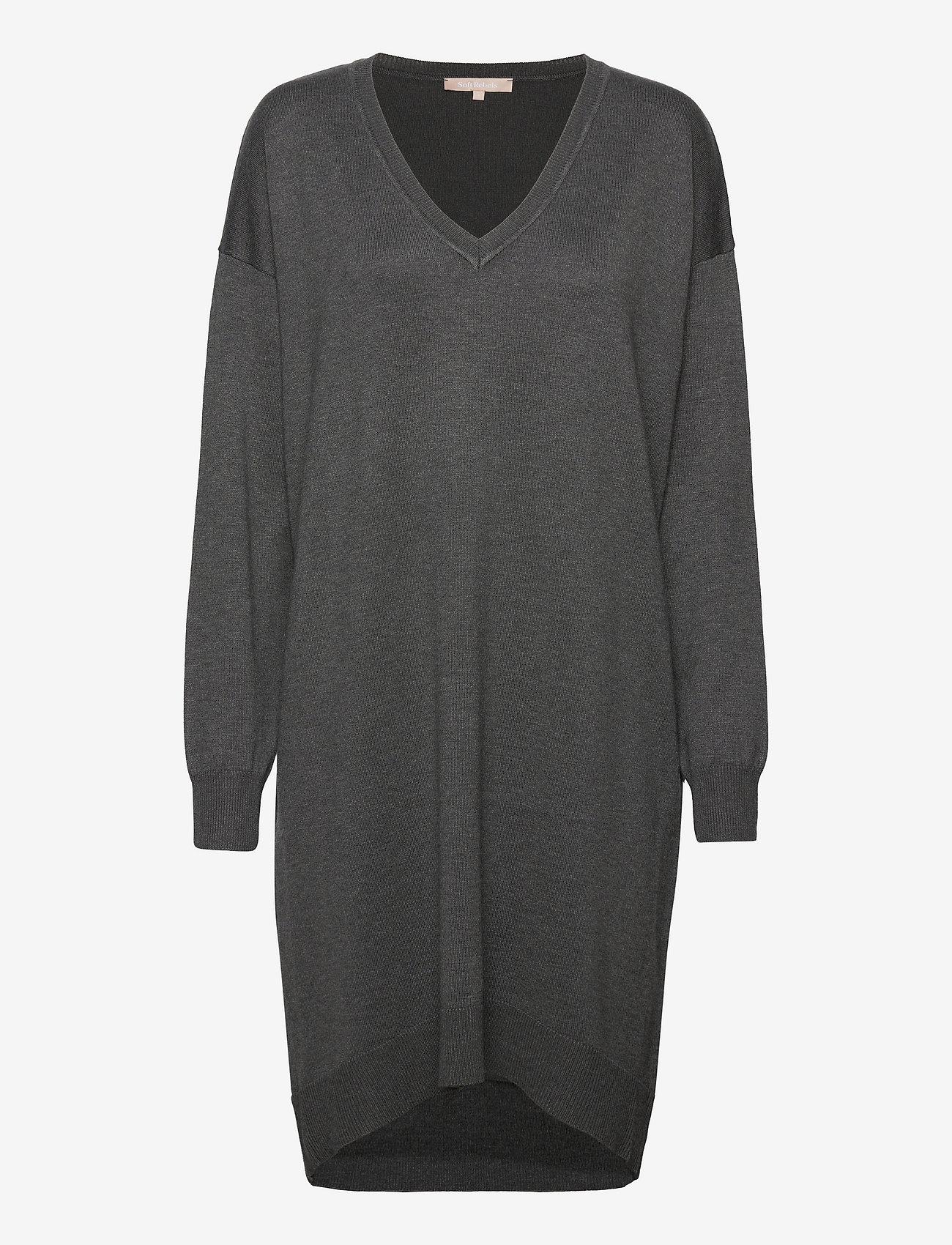 Soft Rebels - SRLea V-neck Dress - sommerkjoler - dark grey melange - 0