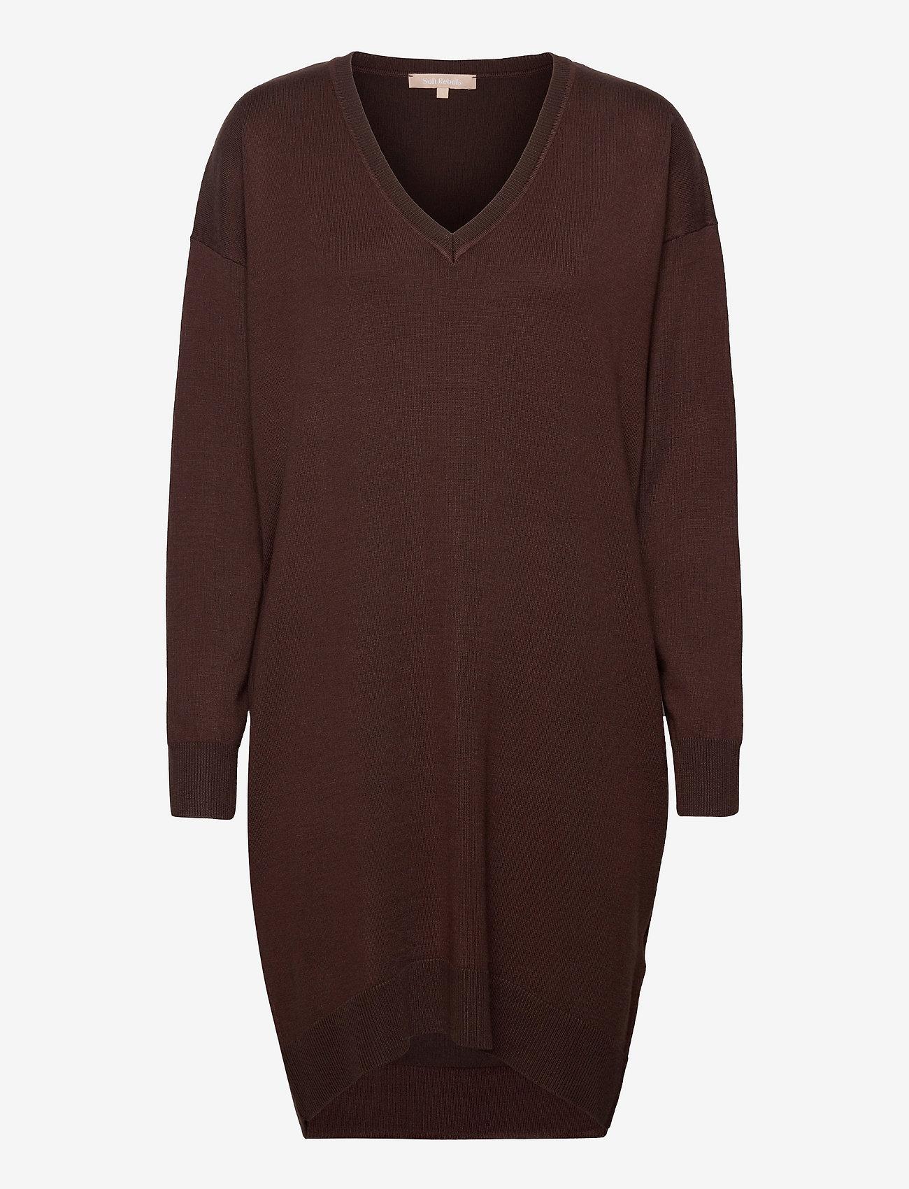Soft Rebels - SRLea V-neck Dress - sommerkjoler - shaved chocolate - 0