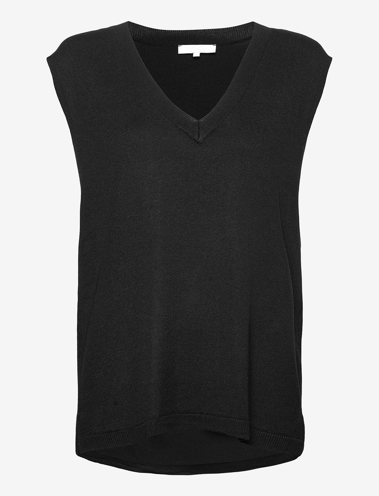 Soft Rebels - SRMarla V-neck Loose Fit Knit Vest - knitted vests - black - 1