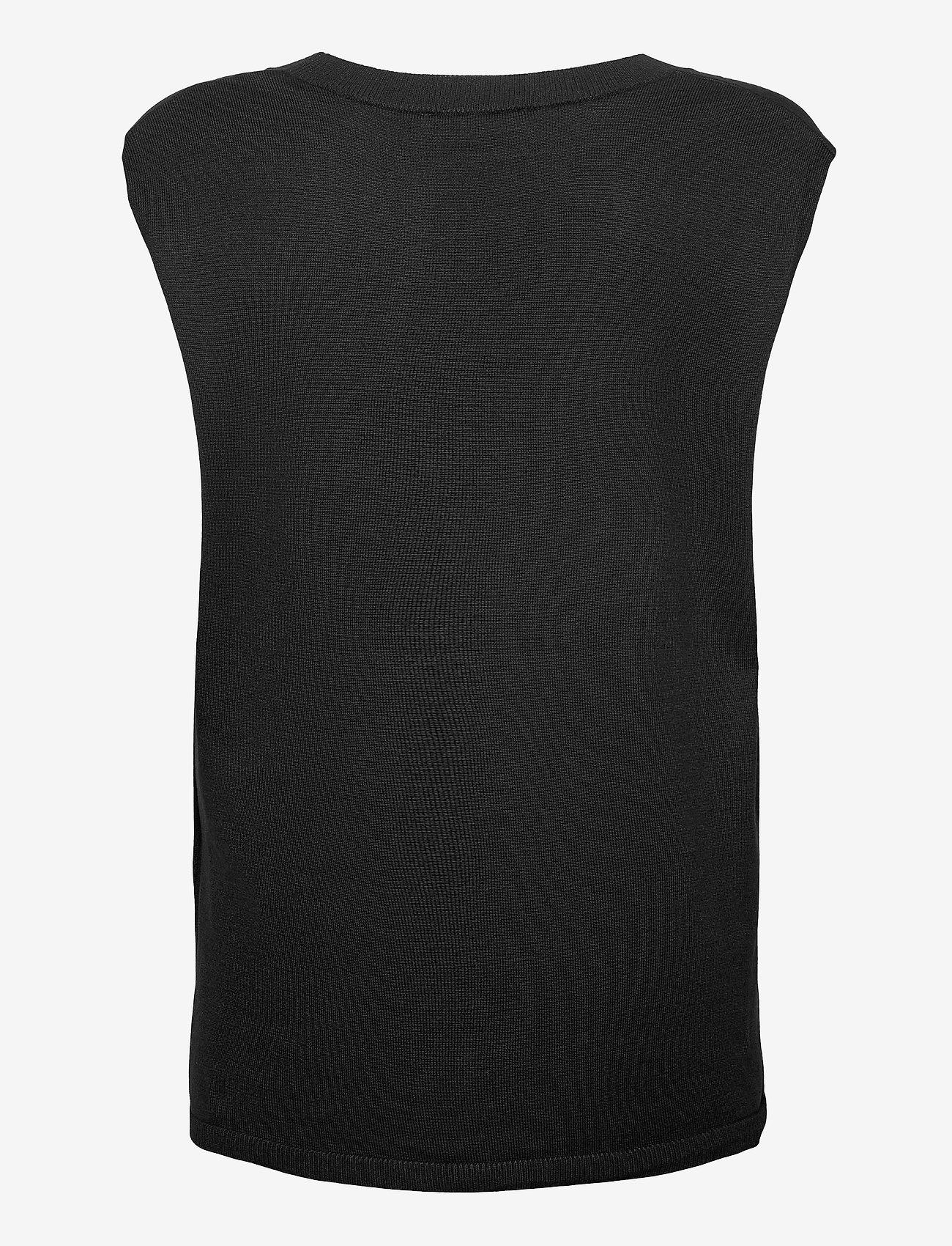 Soft Rebels - Marla V-neck Loose Fit Knit Vest - knitted vests - black - 2