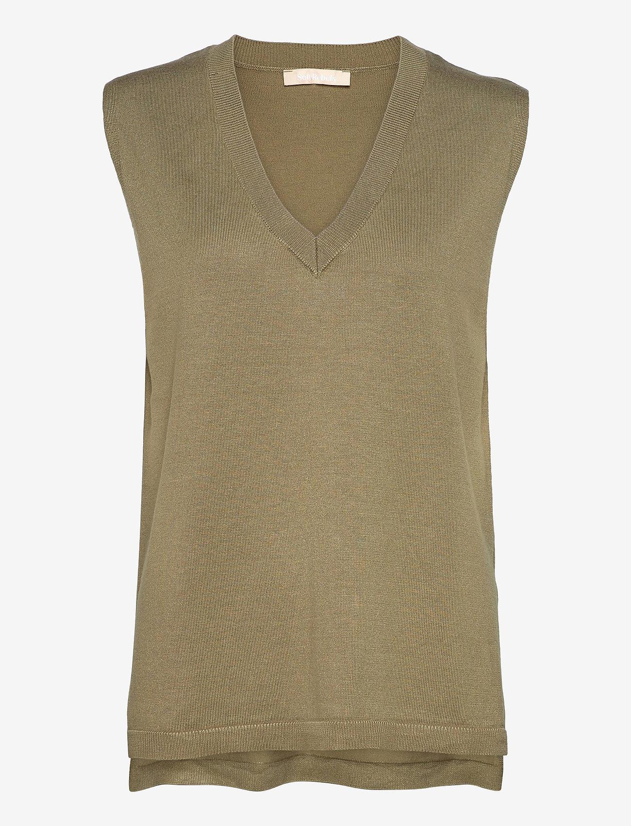 Soft Rebels - Marla V-neck Loose Fit Knit Vest - strikveste - covert green - 0