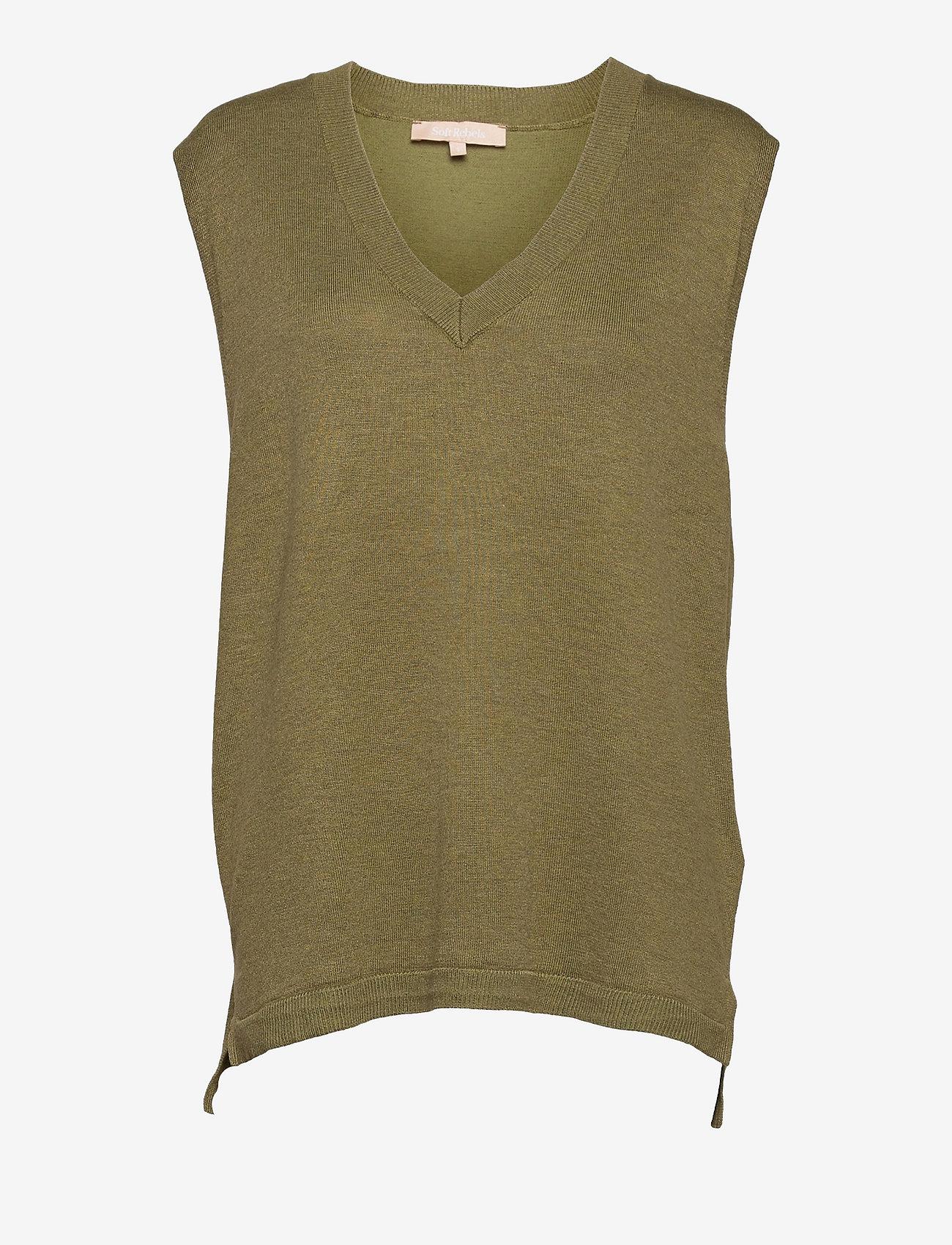 Soft Rebels - Marla V-neck Loose Fit Knit Vest - knitted vests - olive drab melange - 0