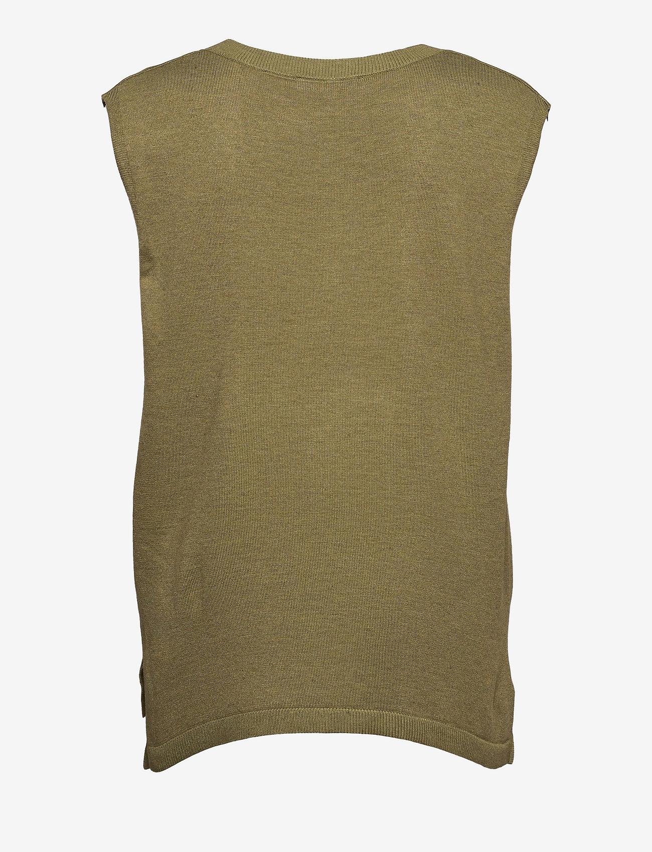 Soft Rebels - Marla V-neck Loose Fit Knit Vest - knitted vests - olive drab melange - 1