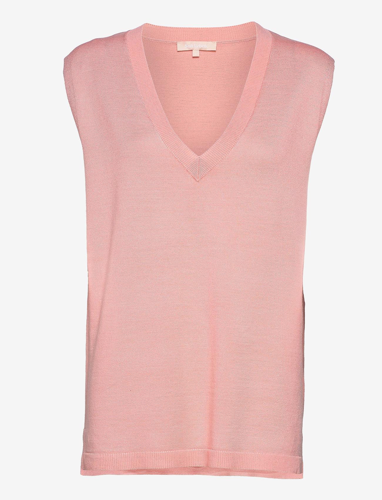 Soft Rebels - Marla V-neck Loose Fit Knit Vest - knitted vests - quartz pink - 0