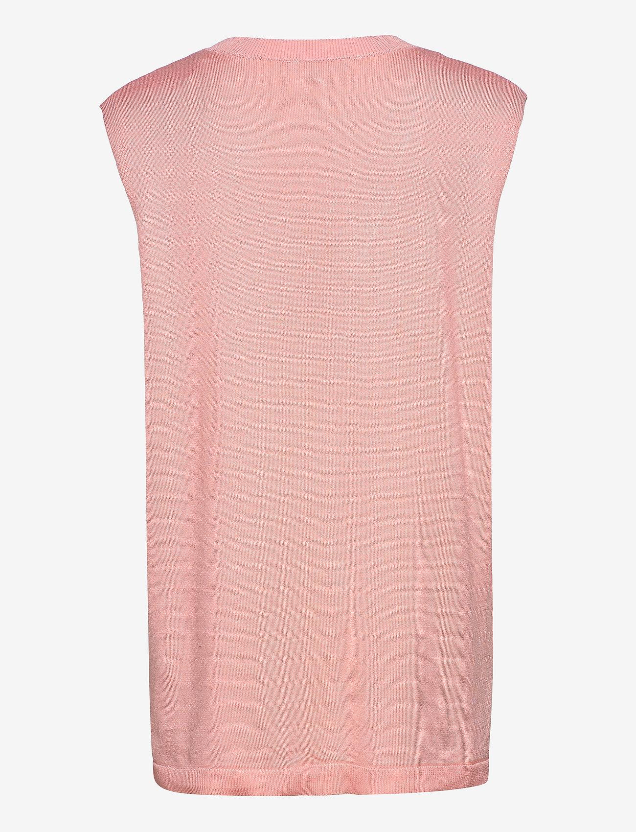 Soft Rebels - Marla V-neck Loose Fit Knit Vest - knitted vests - quartz pink - 1