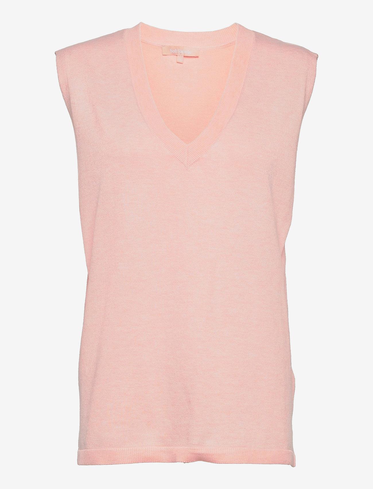 Soft Rebels - SRMarla V-neck Loose Fit Knit Vest - knitted vests - sepia rose - 1