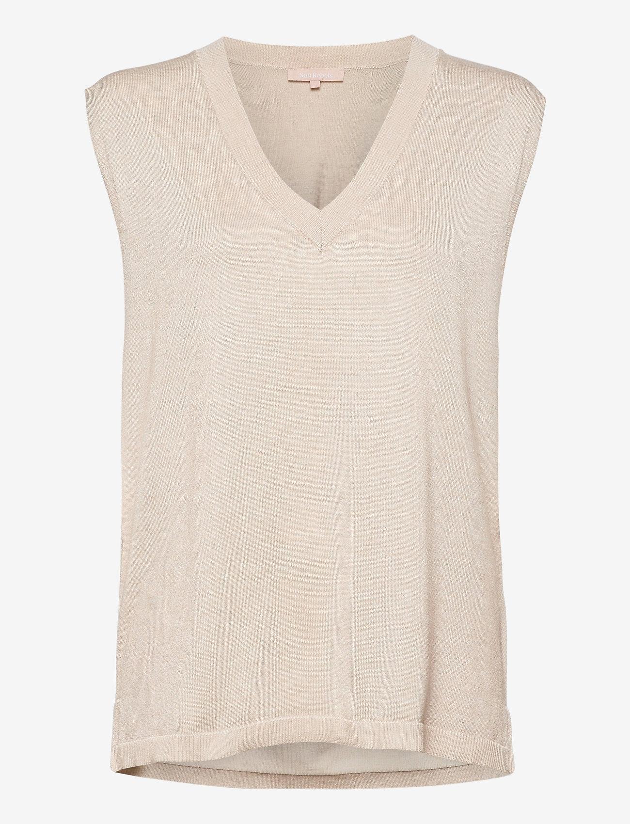 Soft Rebels - Marla V-neck Loose Fit Knit Vest - knitted vests - whitecap gray - 0