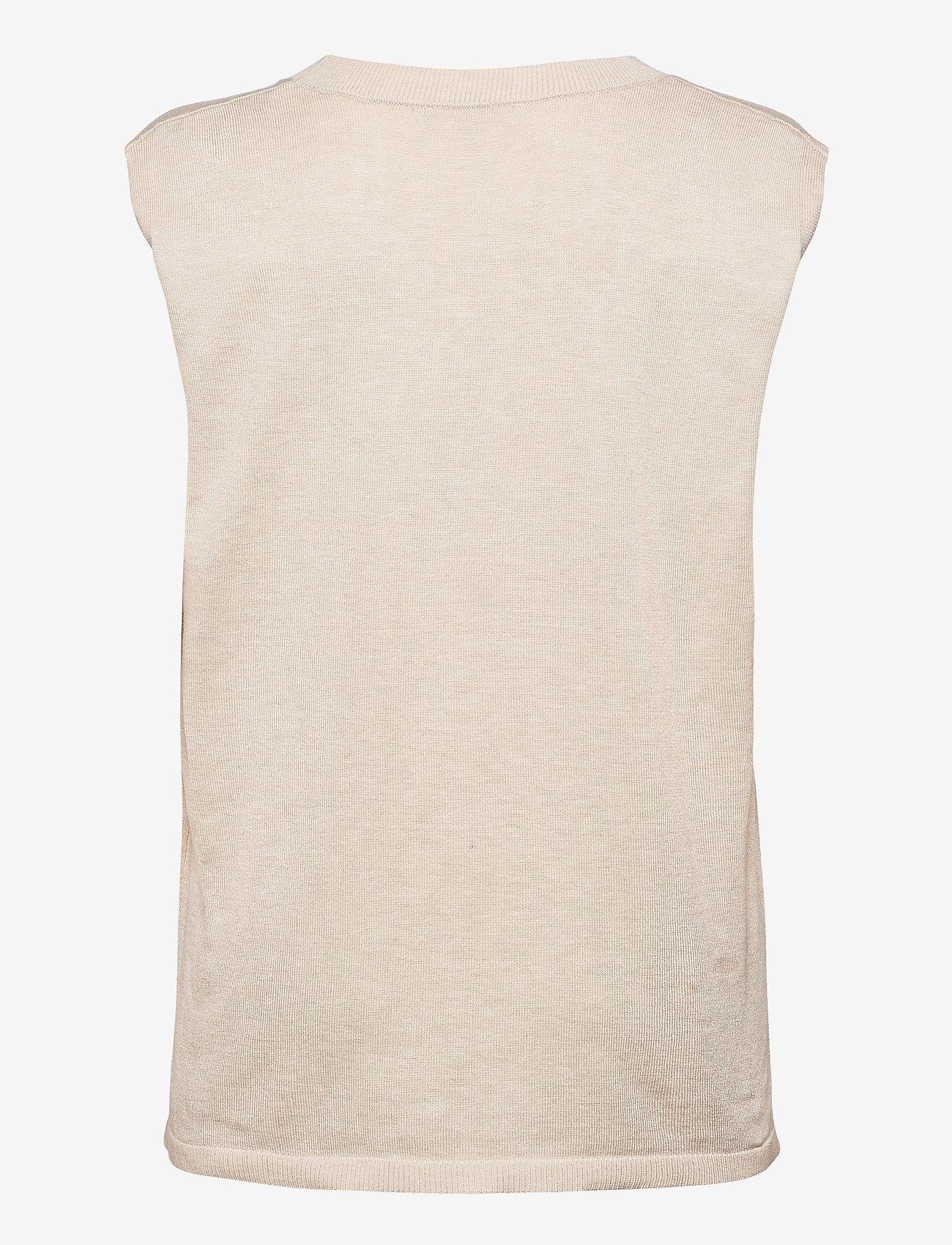 Soft Rebels - Marla V-neck Loose Fit Knit Vest - knitted vests - whitecap gray - 1