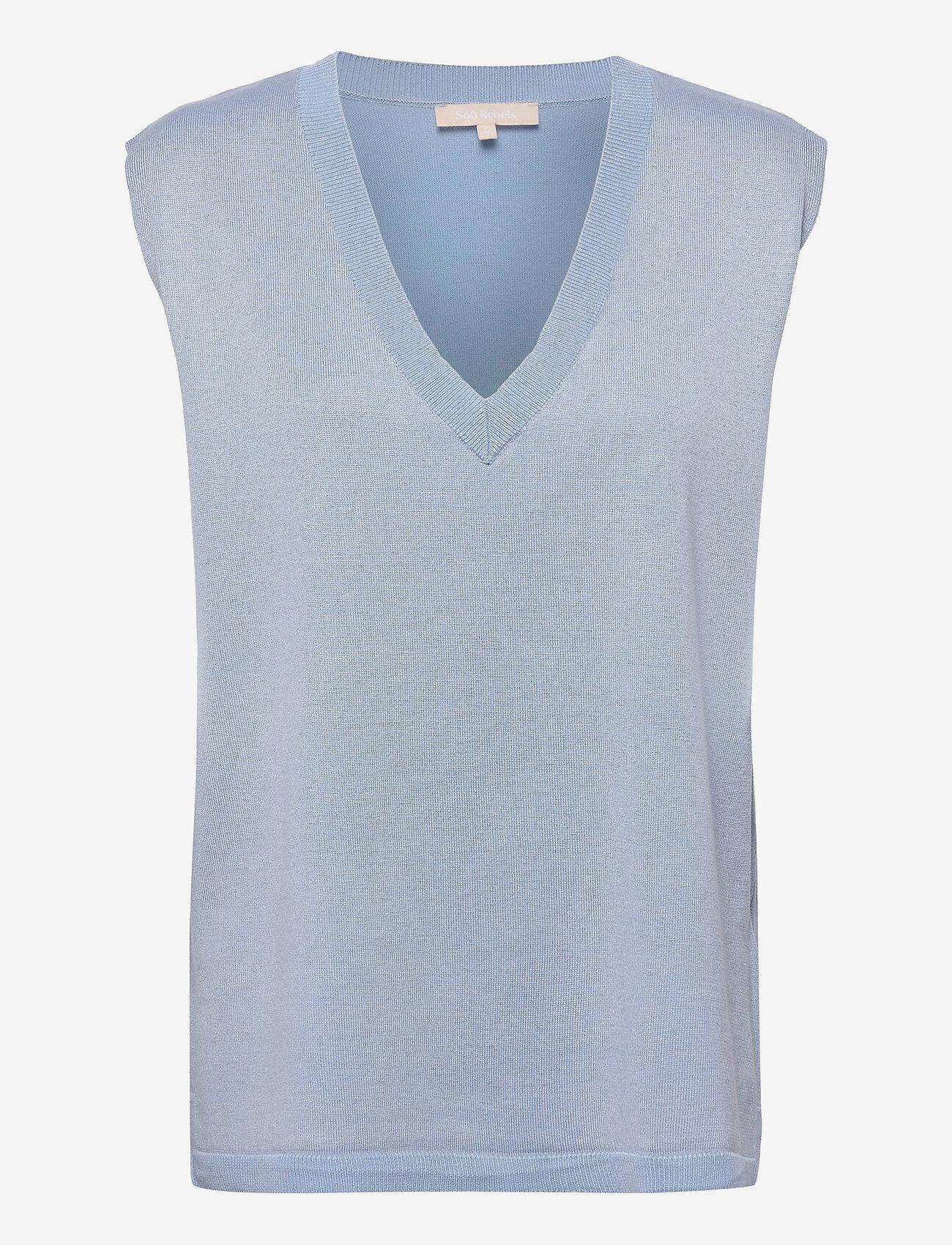 Soft Rebels - Marla V-neck Loose Fit Knit Vest - knitted vests - zen blue - 0