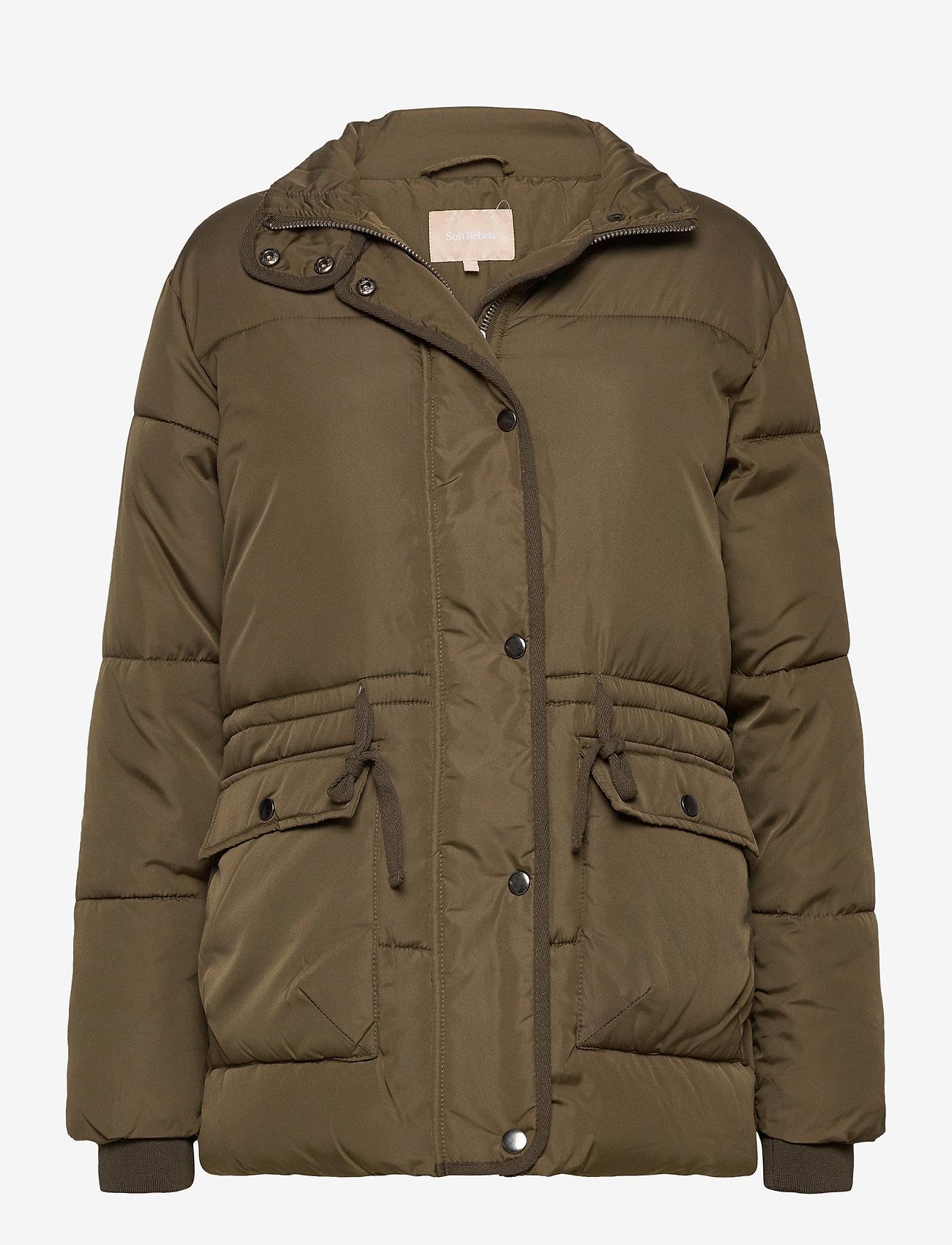 Soft Rebels - Layla Puffer Jacket - down- & padded jackets - dark olive - 0