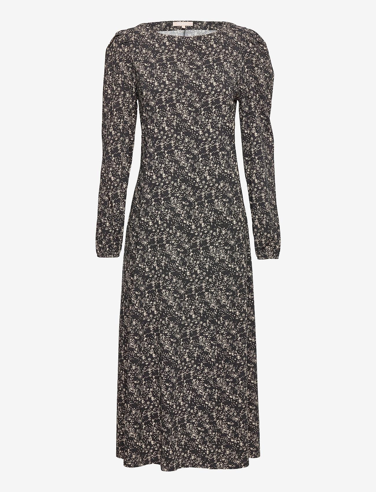 Soft Rebels - Dee Midi Dress - summer dresses - mini leaf black print - 0