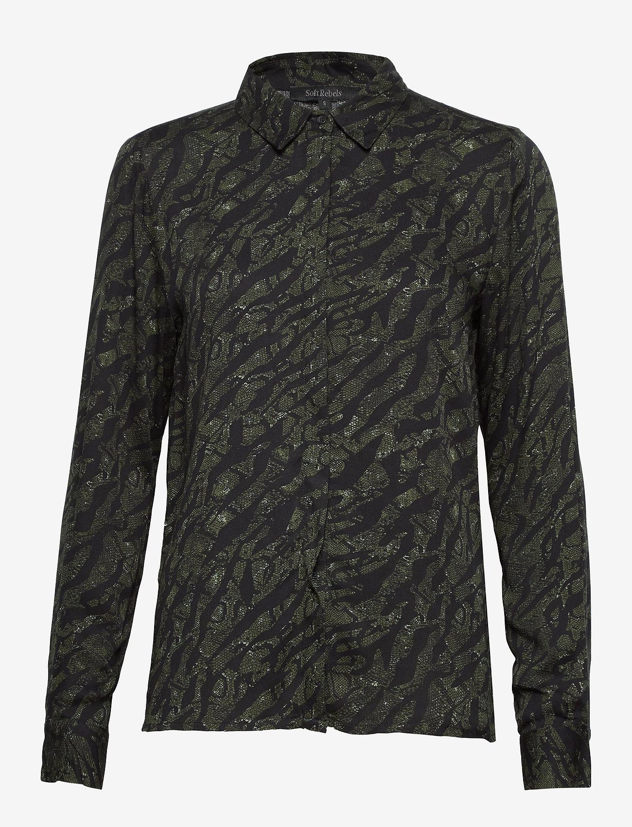 Soft Rebels - Animal LS Shirt - blouses med lange mouwen - animal scarab - 0