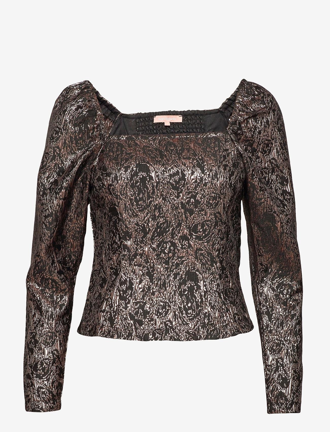 Soft Rebels - SRWilhelmina LS Top - long sleeved blouses - asphalt - 0