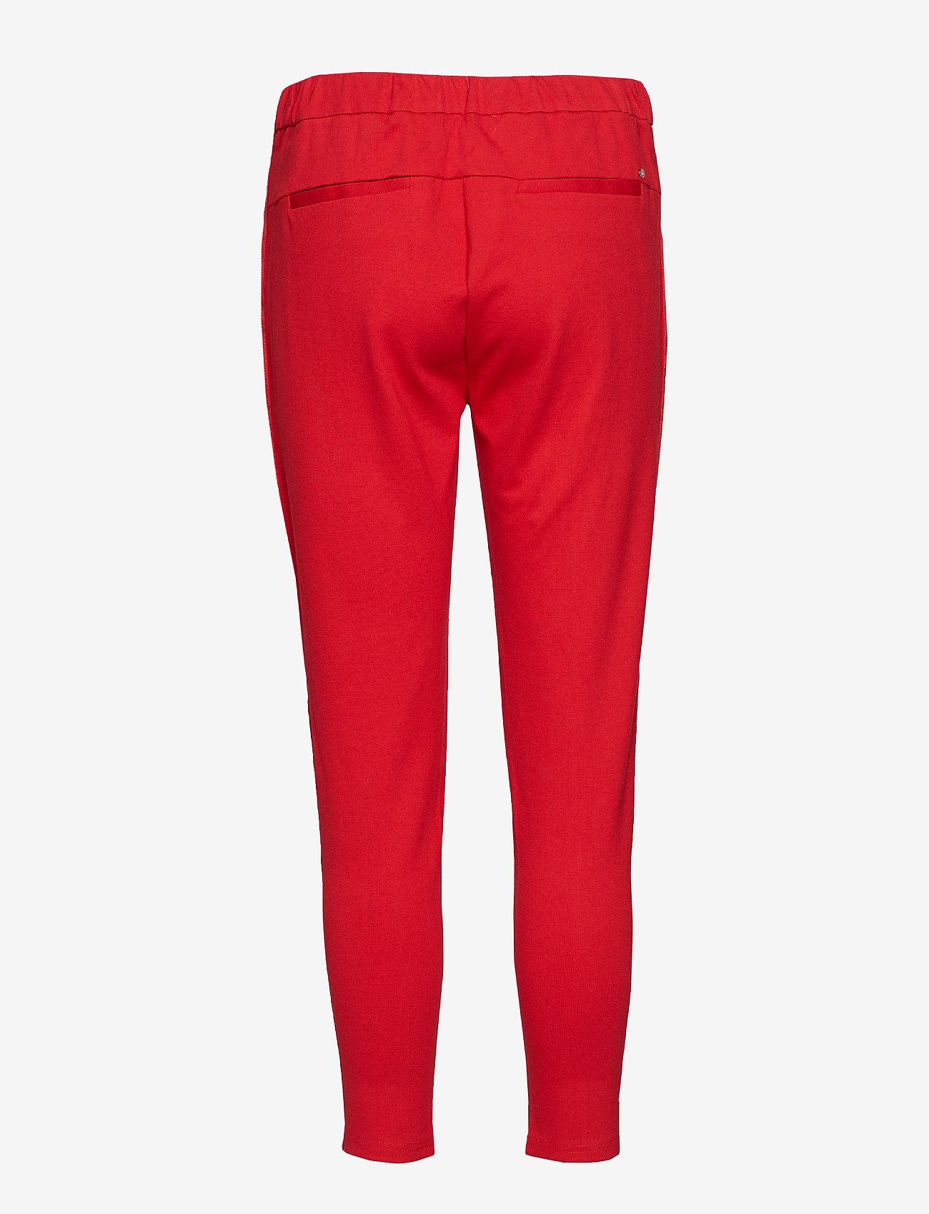 Soft Rebels - Freya Stripe Pant 7/8 - straight leg trousers - 350 spizy red