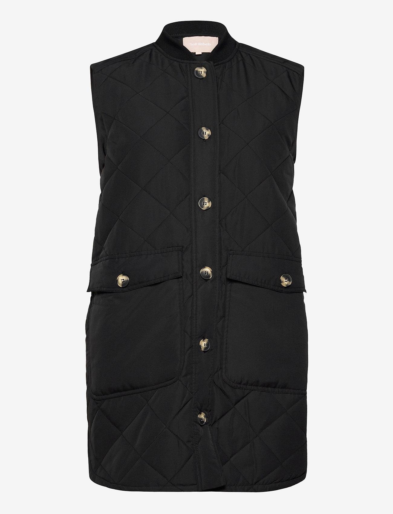 Soft Rebels - SREileen Quilt Vest - puffer vests - black - 0