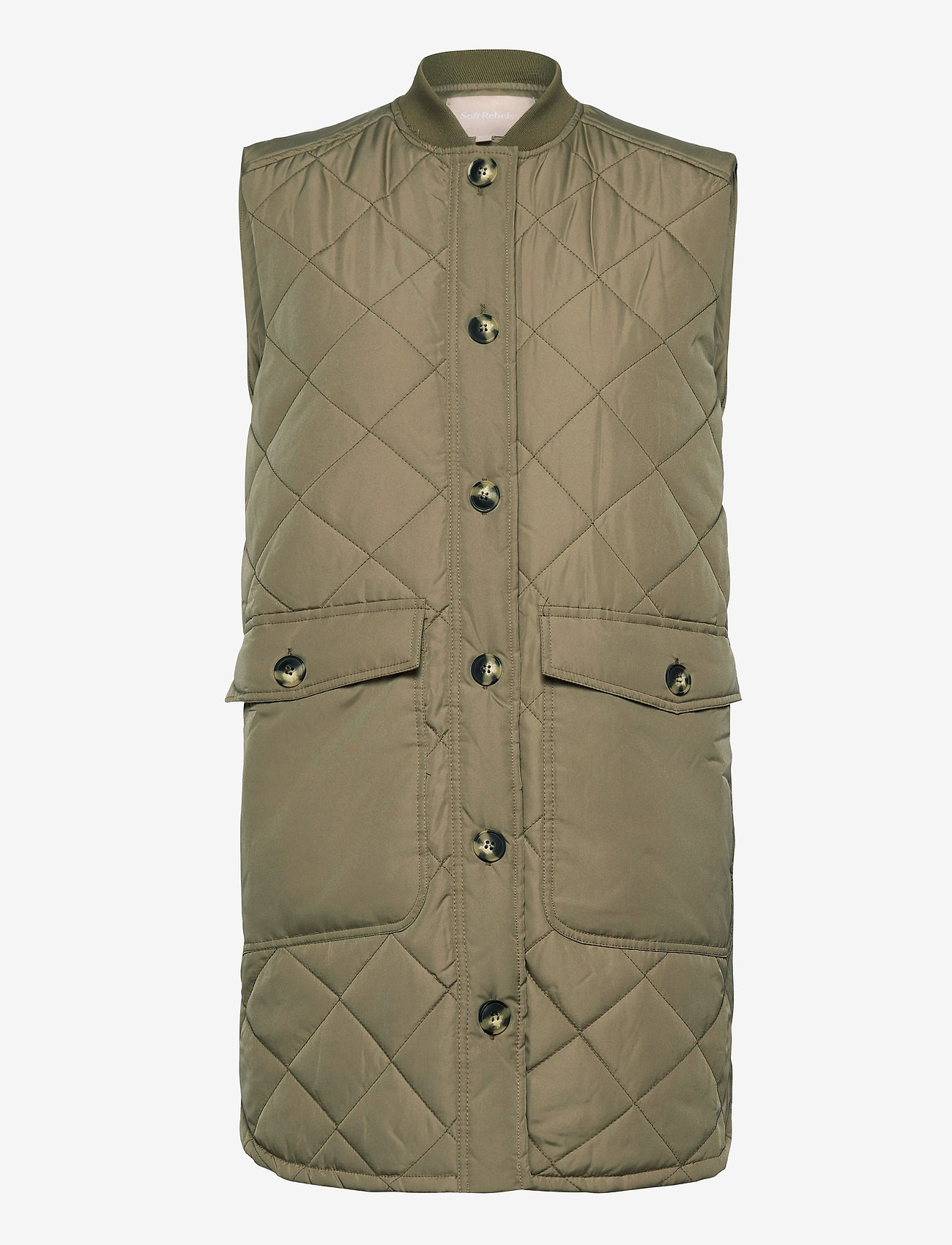 Soft Rebels - SREileen Quilt Vest - vatteret veste - covert green - 0
