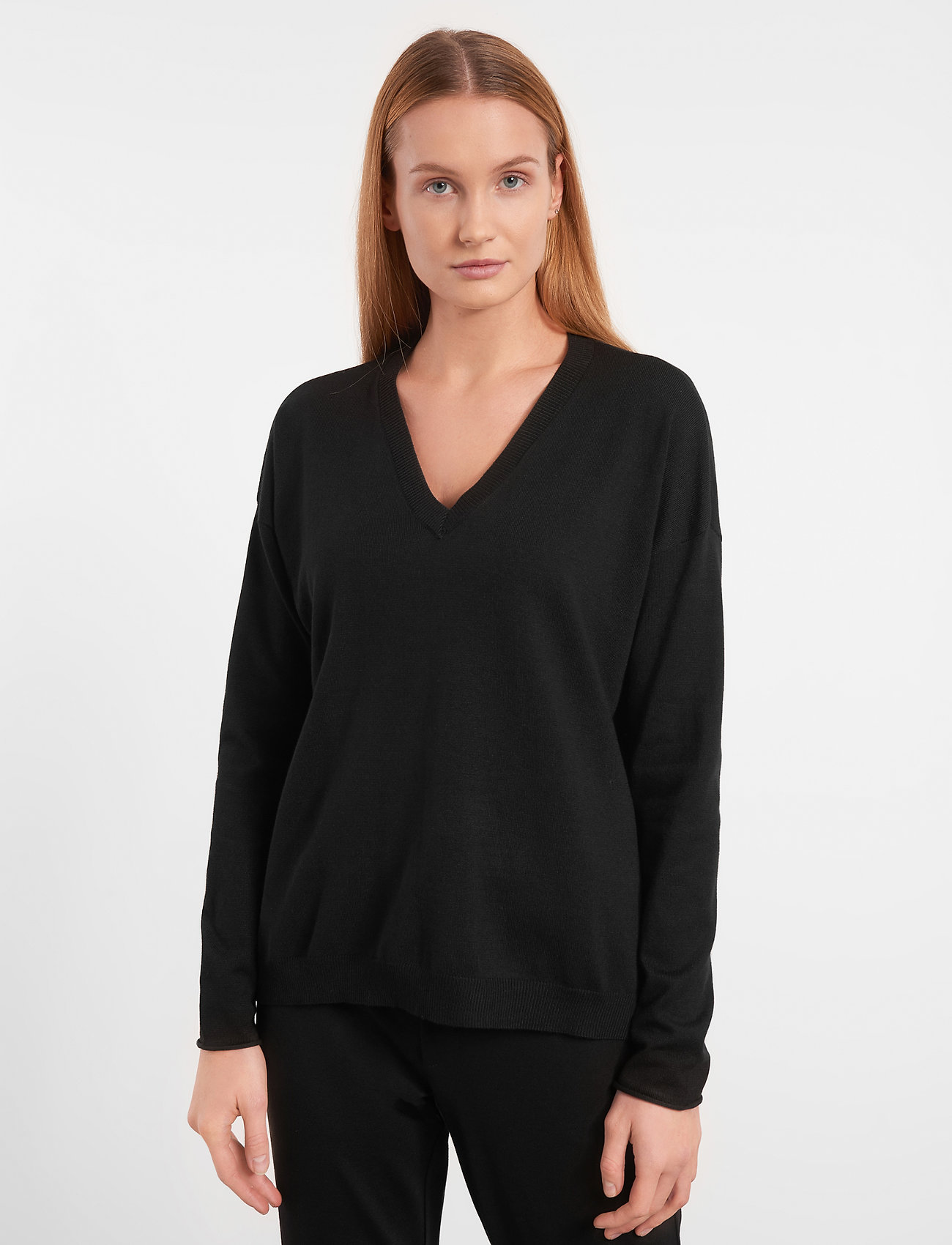 Soft Rebels - Zara V-neck Knit - trøjer - black - 0