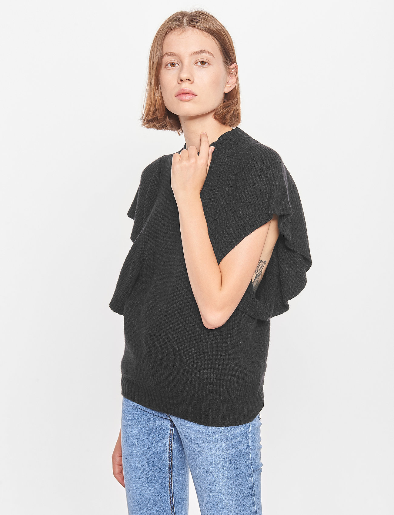 Soft Rebels - SRPeach T-neck Knit Vest - knitted tops - black - 0