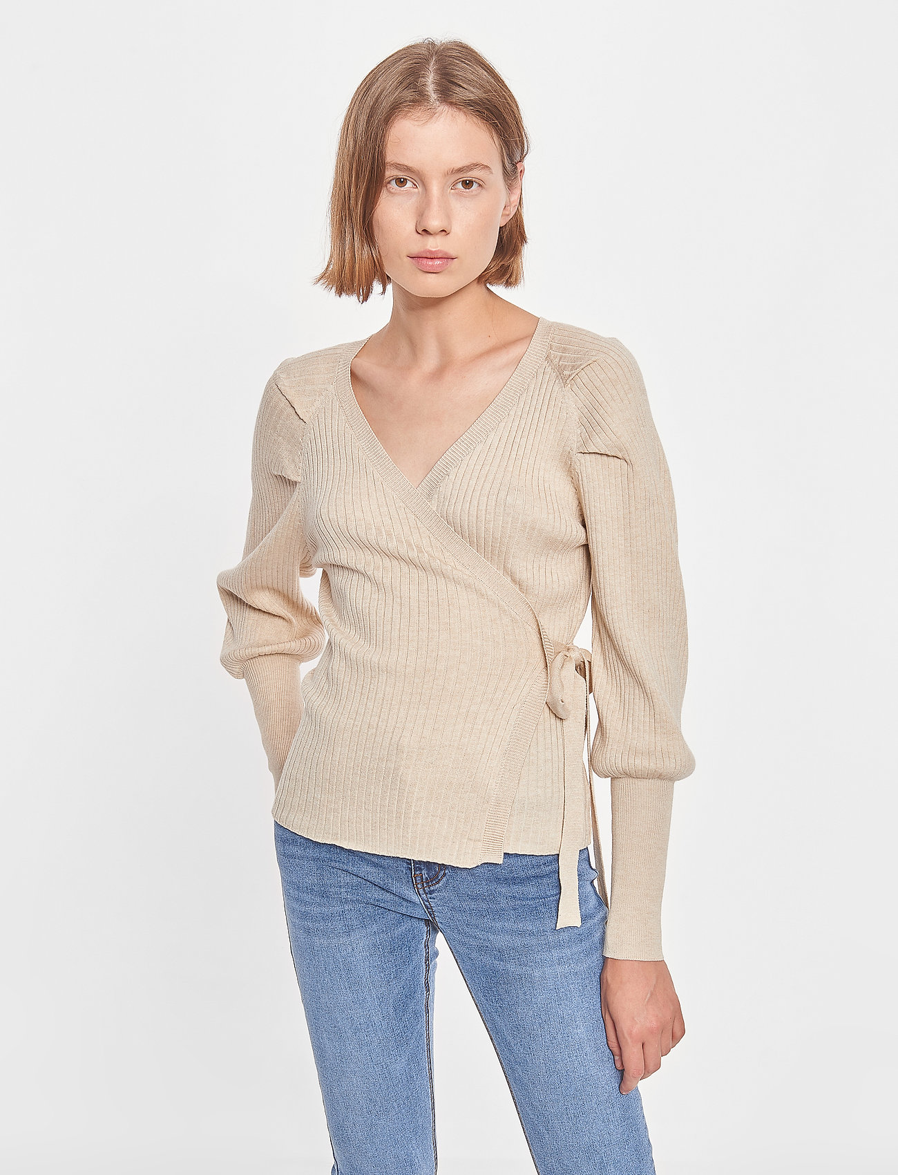 Soft Rebels - SRMarla LS Wrap Around Knit - cardigans - whitecap gray - 0