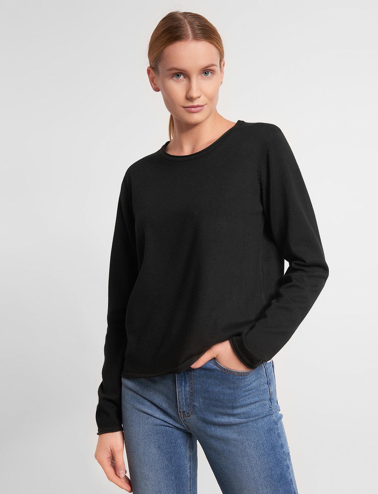 Soft Rebels - Zara O-neck Knit Roll Edge - trøjer - black - 0