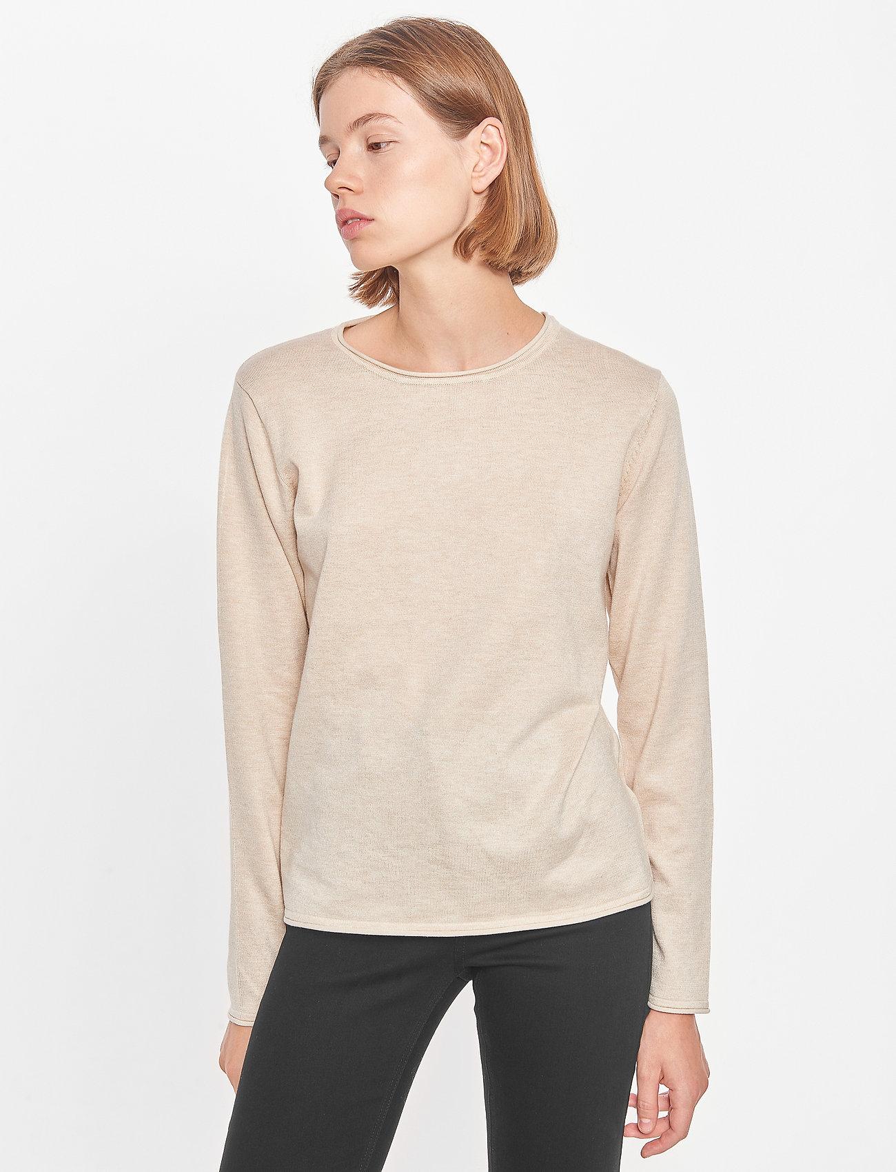 Soft Rebels - SRMarla O-Neck Roll Edge - sweaters - whitecap gray - 0