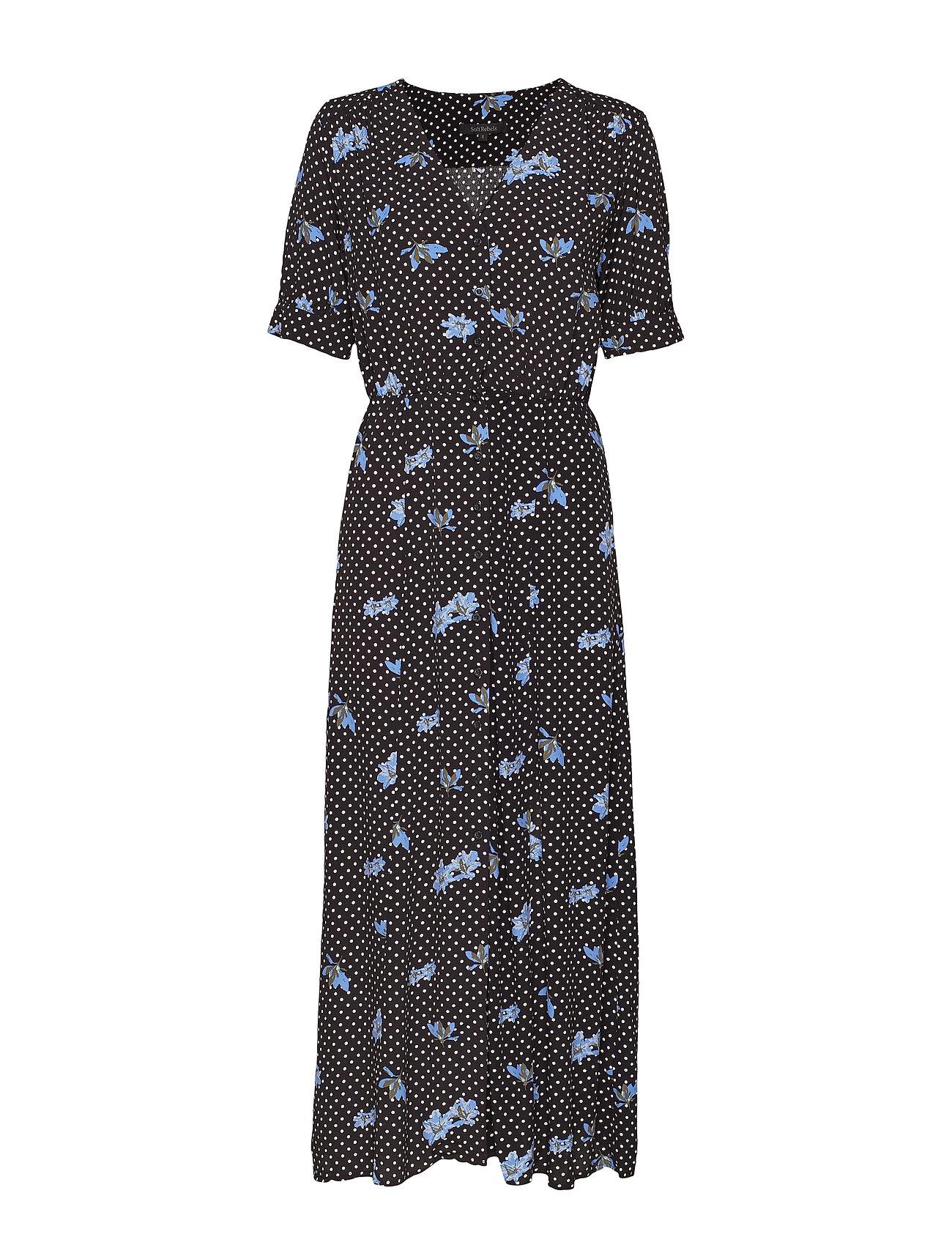 Soft Rebels Karlin Button Dress - DOT FLOWER PRINT