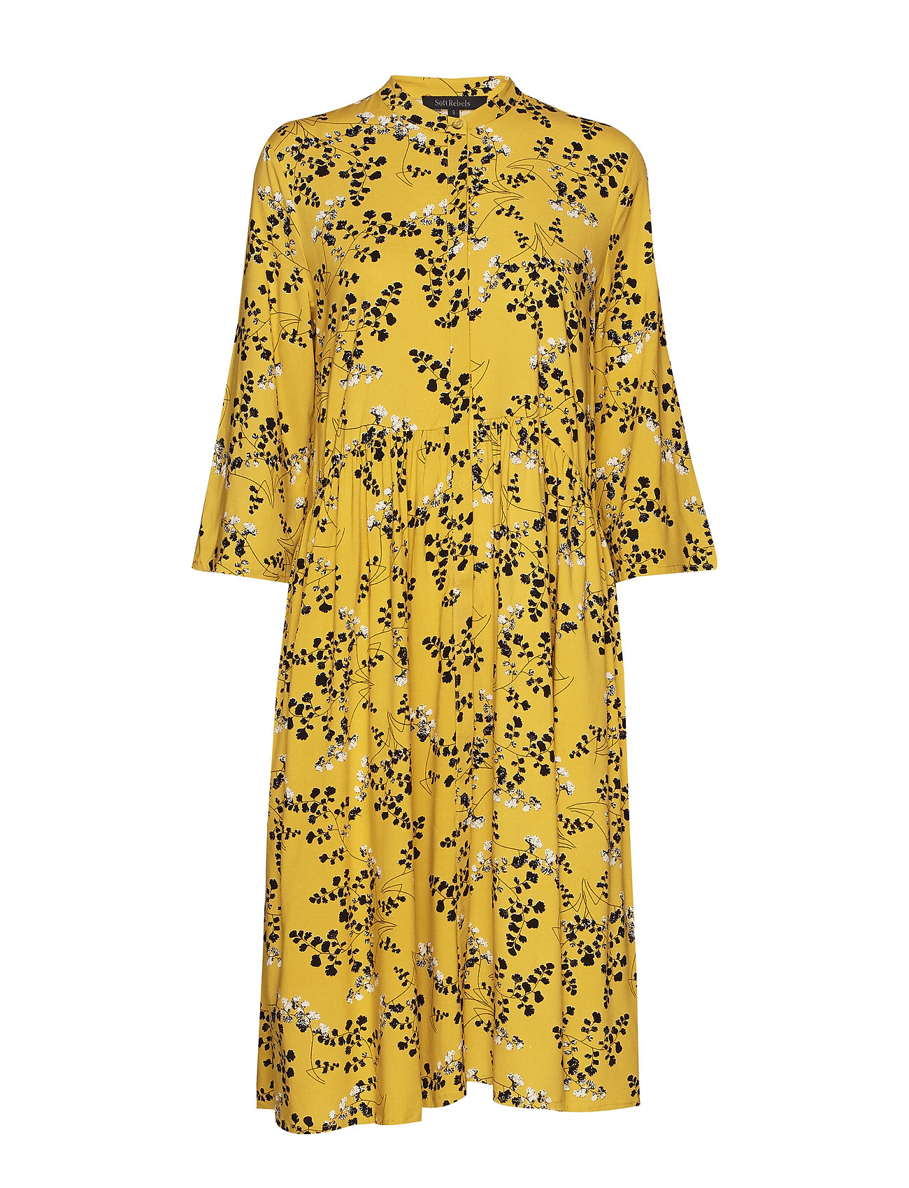 Soft Rebels Karoline Shirt Dress - LEAF PRINT - CEYLON YELLOW