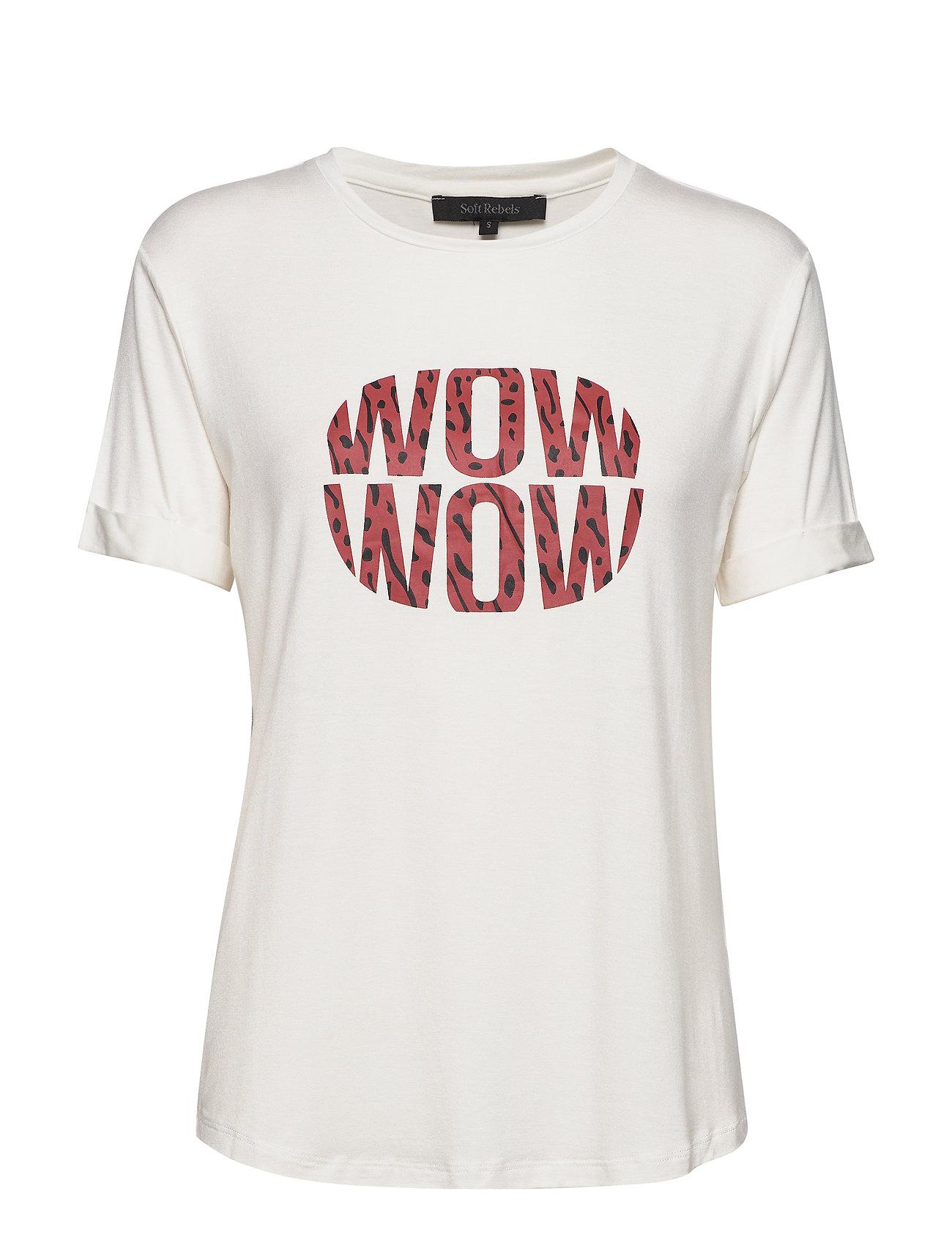 Soft Rebels Wow T-shirt - SNOW WHITE / OFF WHITE