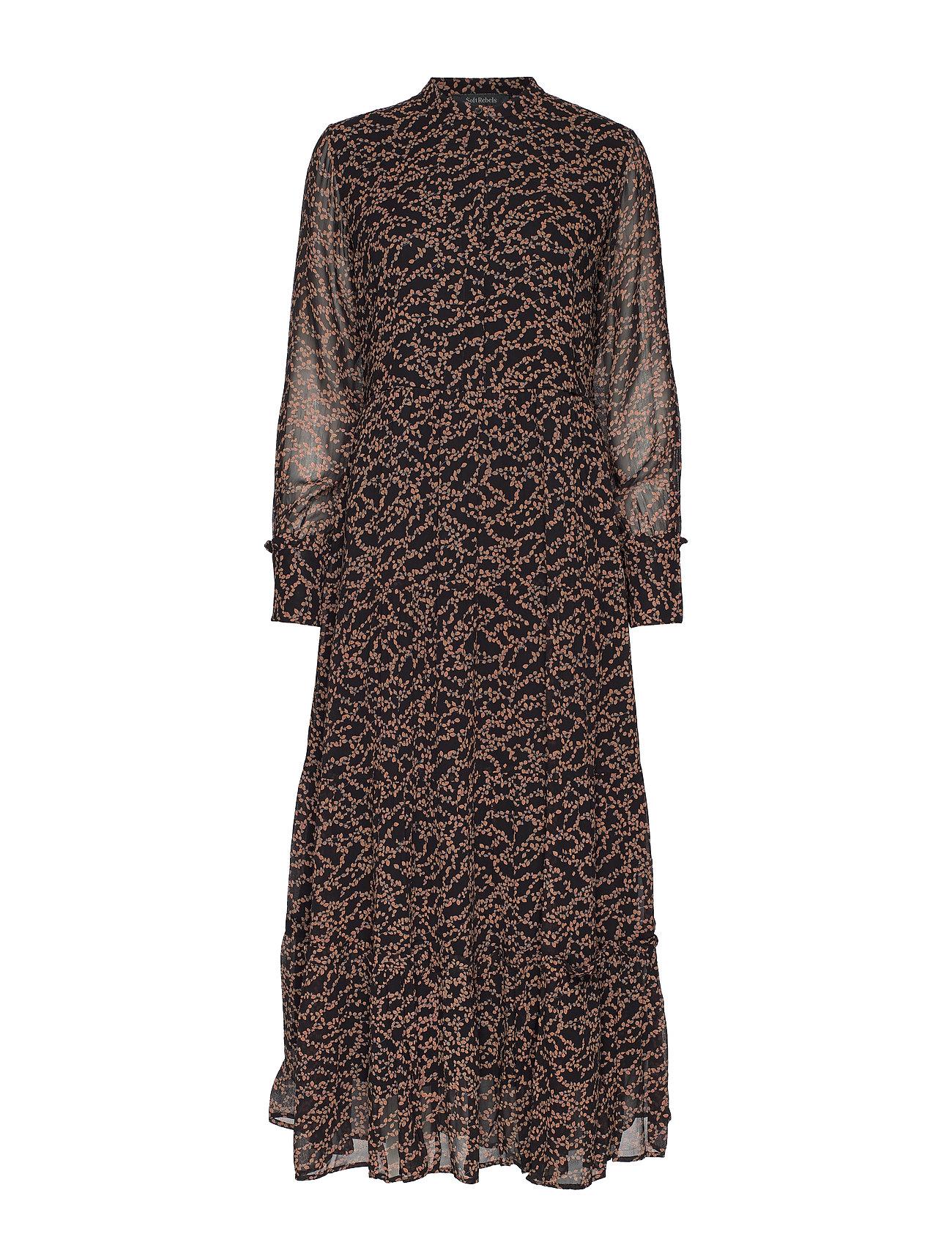 Soft Rebels Selina Long Dress - FLOWVY PRINT BLACK
